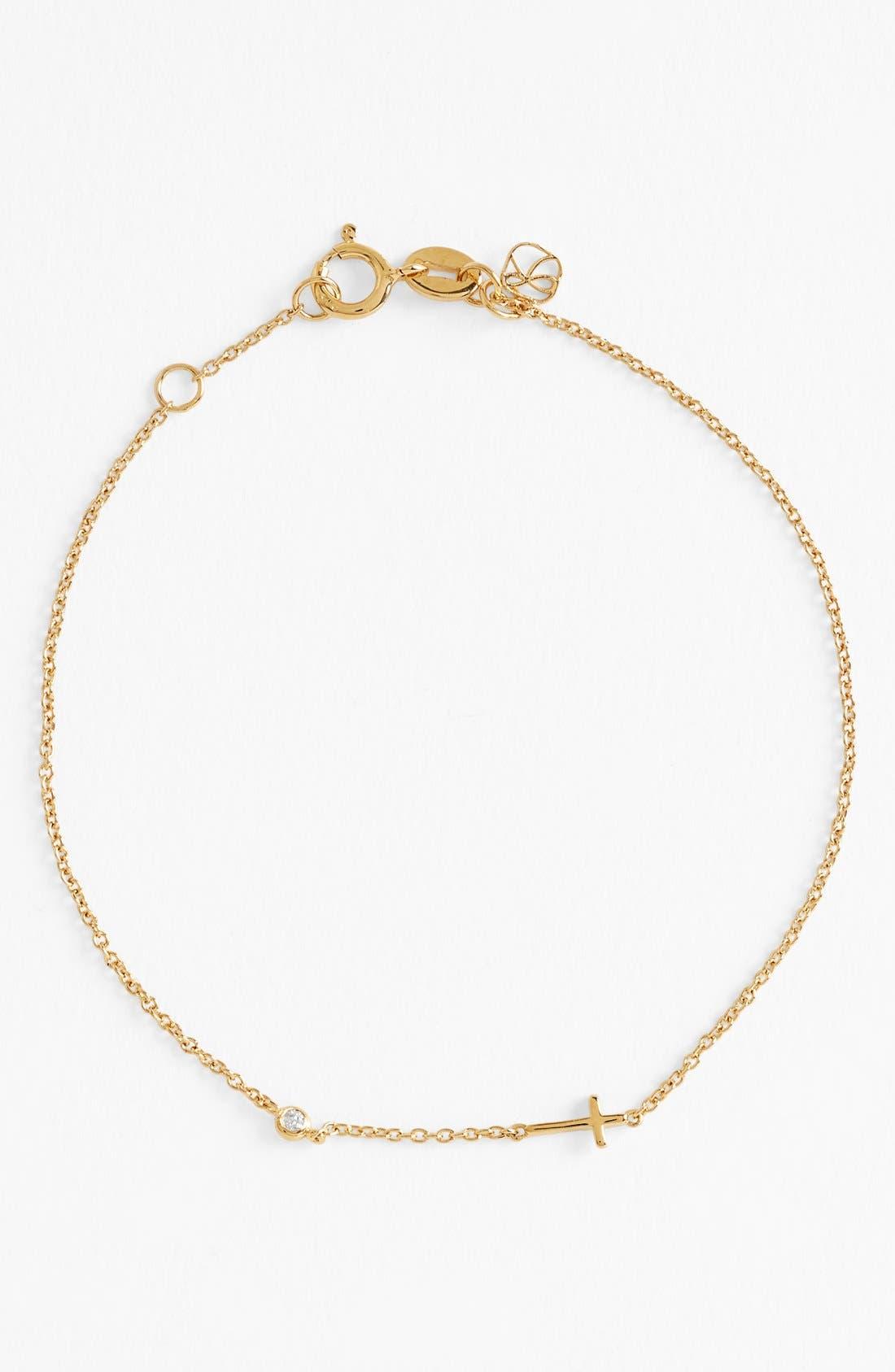 Cross Bracelet,                         Main,                         color, Gold