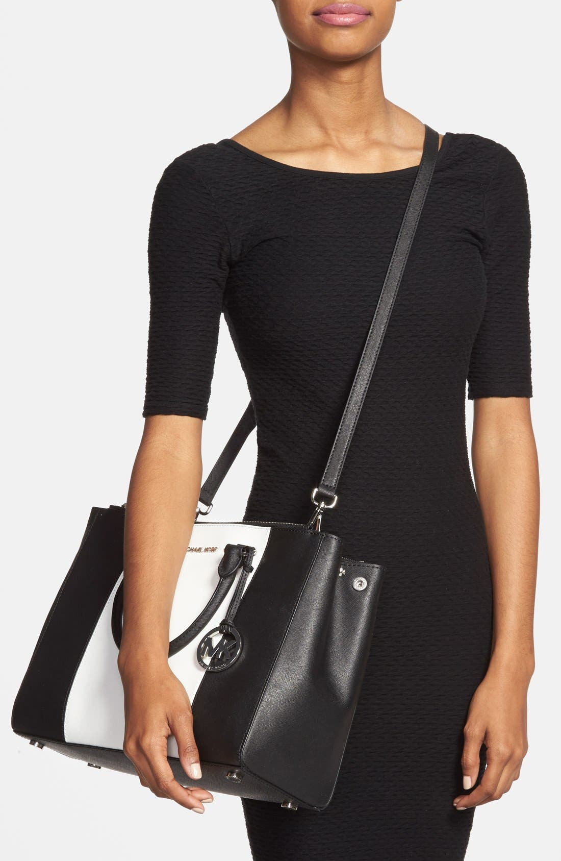 Alternate Image 2  - MICHAEL Michael Kors 'Large Sutton Center Stripe' Saffiano Leather Tote