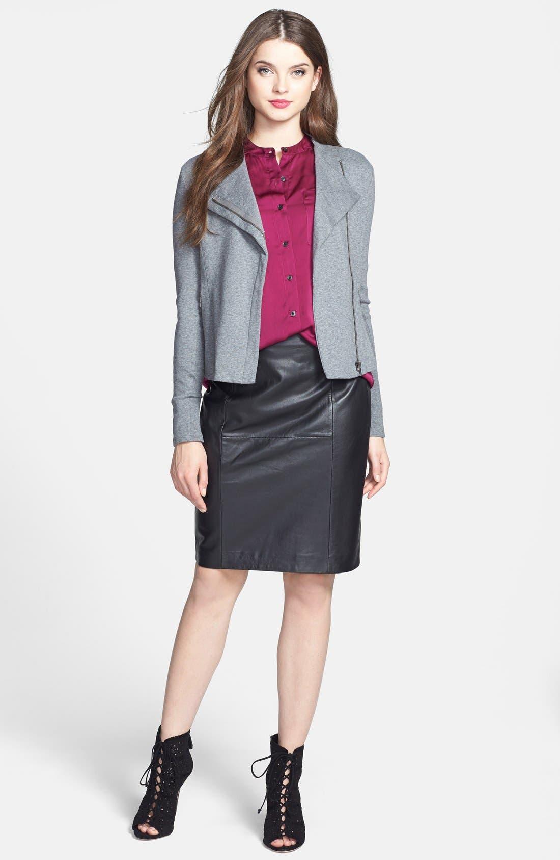 Alternate Image 4  - Halogen® Leather Panel Pencil Skirt (Online Only)