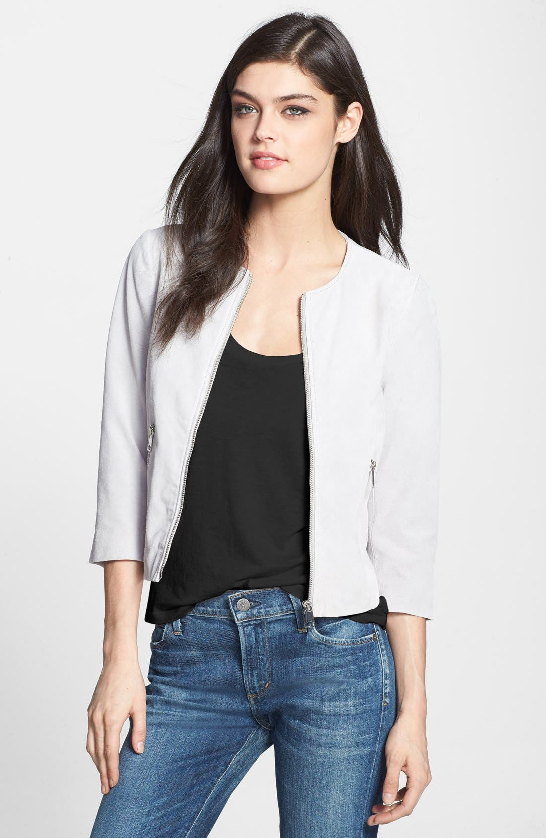 Main Image - Soia & Kyo Collarless Suede Jacket