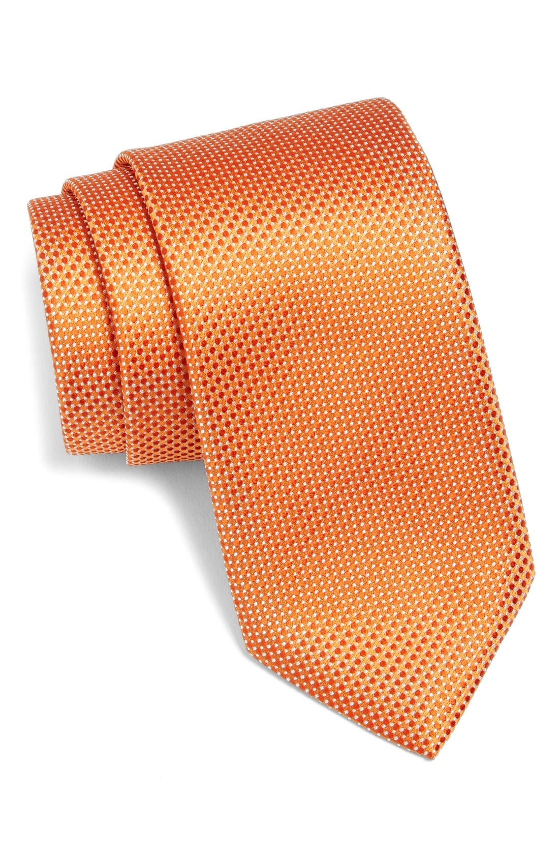 Woven Silk Tie,                         Main,                         color, Orange