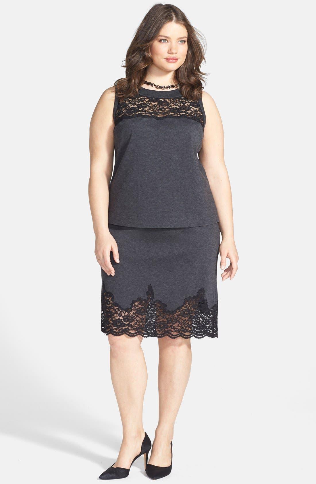 Alternate Image 4  - Vince Camuto Lace Panel Pencil Skirt (Plus Size)