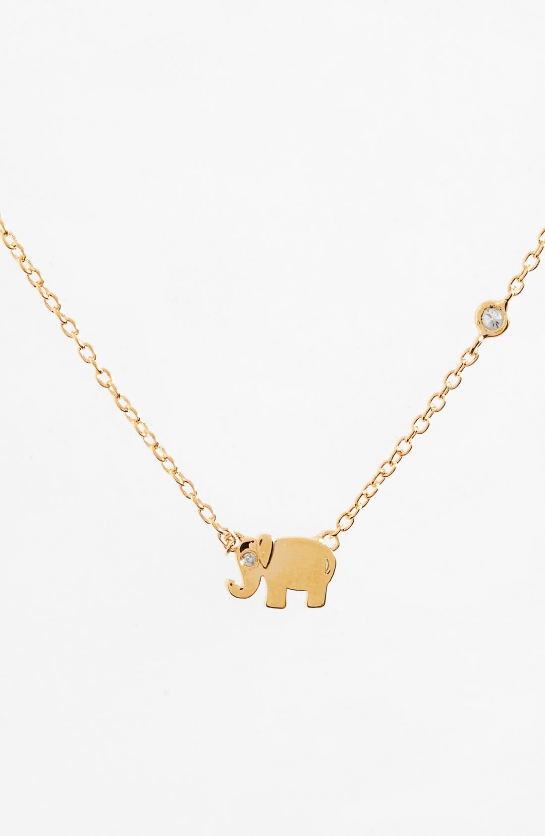 SHY by Sydney Evan Elephant Necklace,                             Main thumbnail 1, color,                             Gold