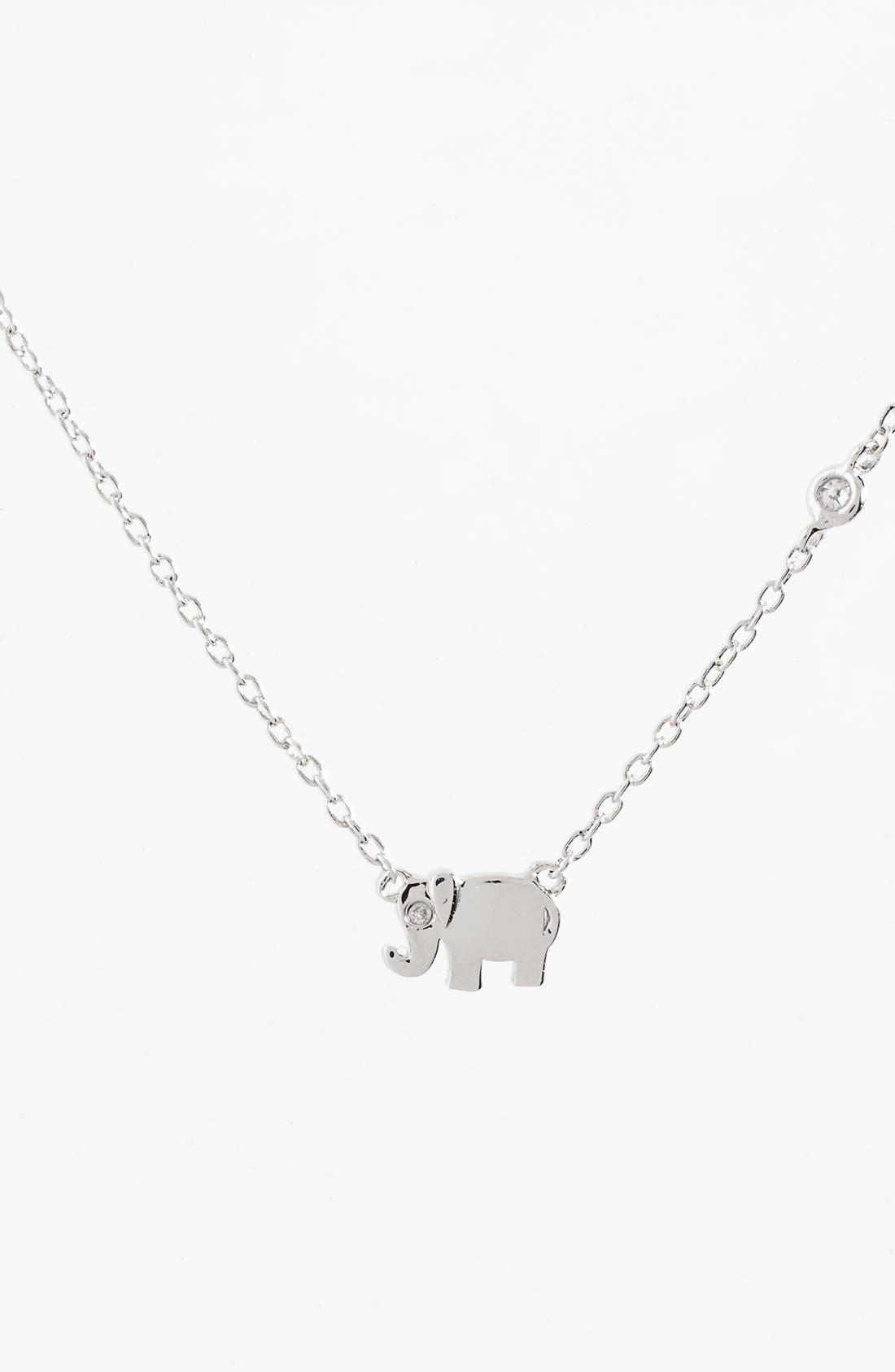SHY by Sydney Evan Elephant Necklace,                             Main thumbnail 1, color,                             Silver
