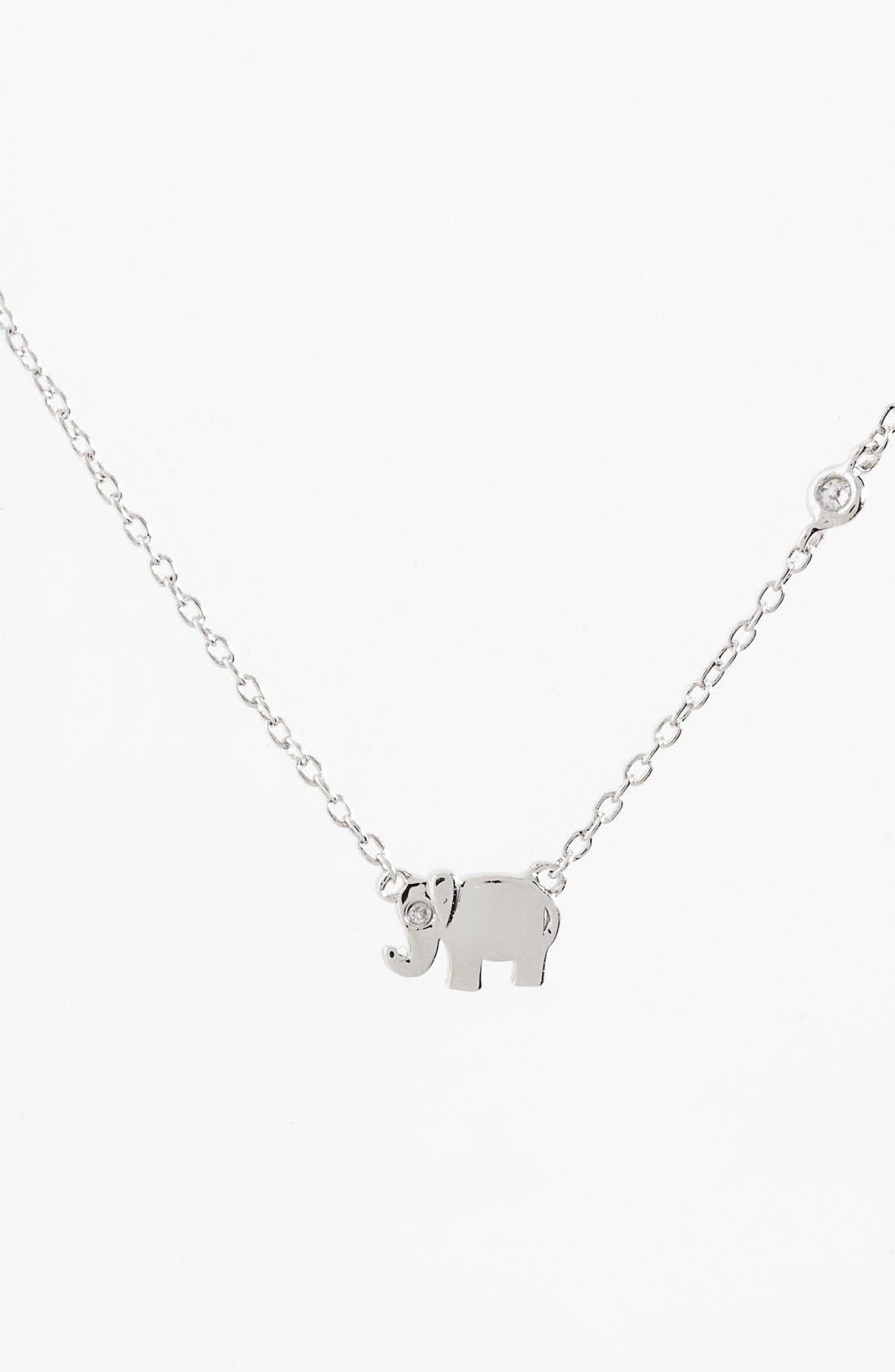 SHY by Sydney Evan Elephant Necklace,                         Main,                         color, Silver