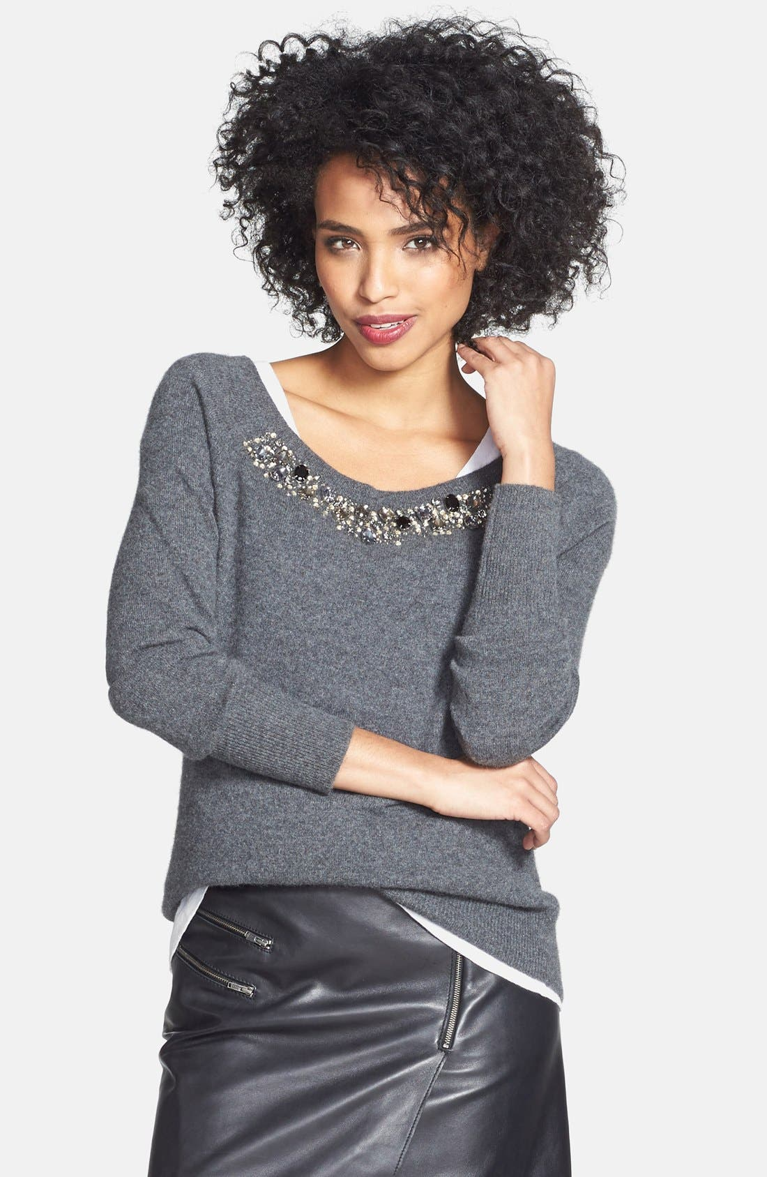 Embellished Neck Cashmere Sweater,                         Main,                         color, Heather Charcoal