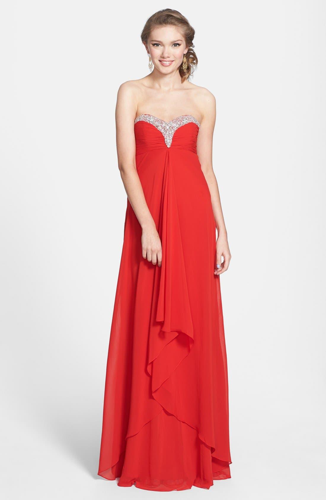 Main Image - Faviana Jeweled Layered Chiffon Gown (Online Exclusive)