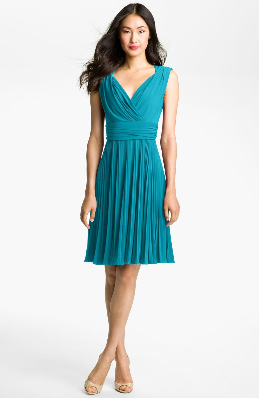 Pleated Jersey Fit & Flare Dress,                             Main thumbnail 1, color,                             Turquoise