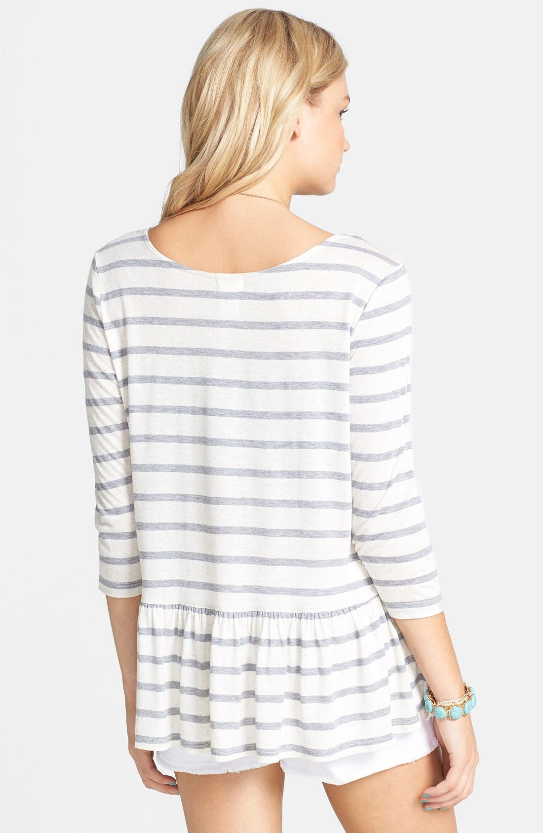 Alternate Image 2  - Ten Sixty Sherman Stripe Peplum Pullover (Juniors)