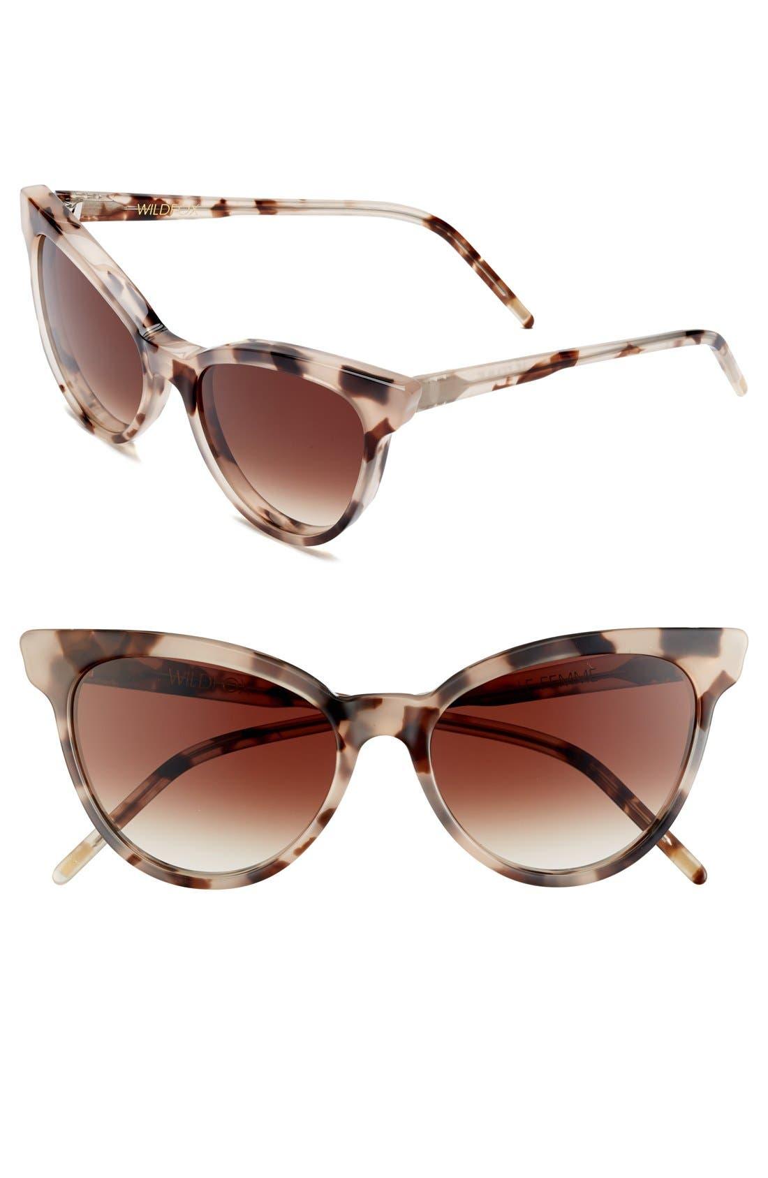 'La Femme' 55mm Sunglasses,                         Main,                         color, Antique Leaves