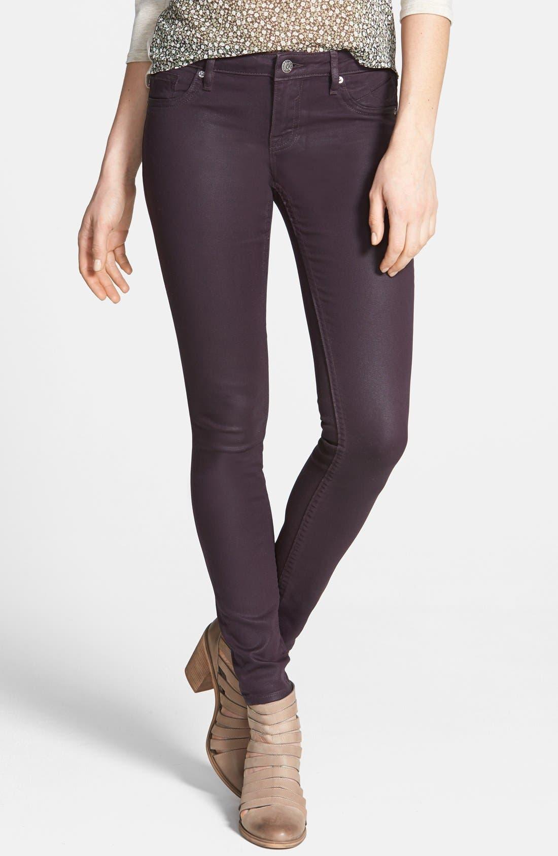 Alternate Image 1 Selected - Vigoss Coated Skinny Jeans (Eggplant) (Juniors)