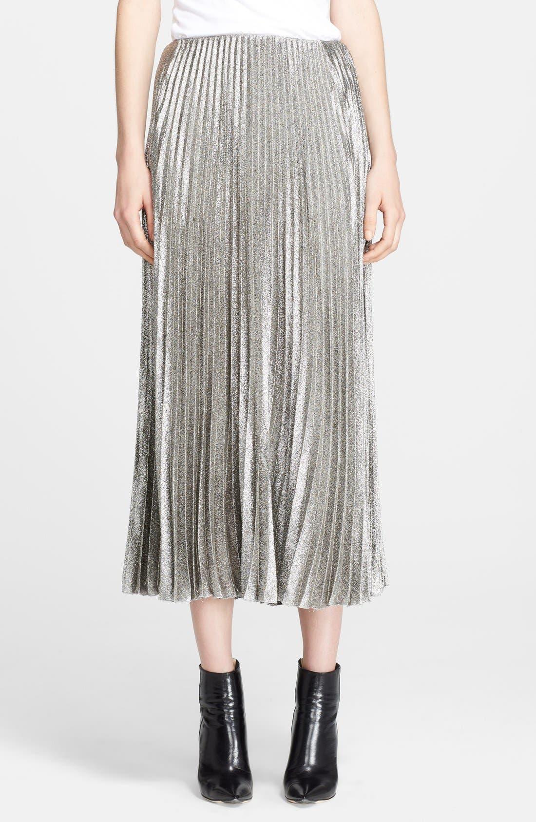 Main Image - Cédric Charlier Pleat Crepe Lamé Midi Skirt