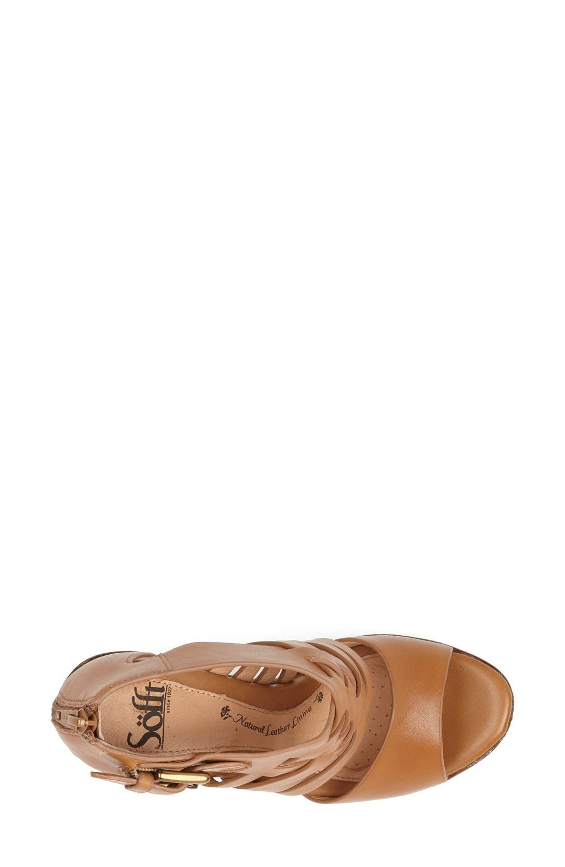 'Ohanna' Leather Sandal,                             Alternate thumbnail 3, color,                             Luggage