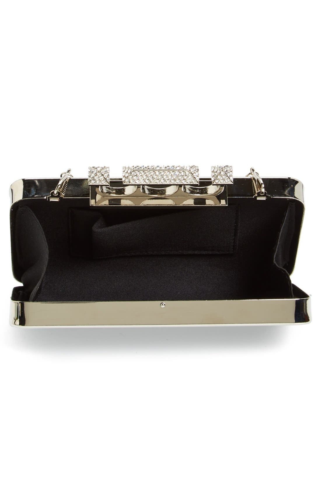 Couture Knuckle Clasp Clutch,                             Alternate thumbnail 2, color,                             Black