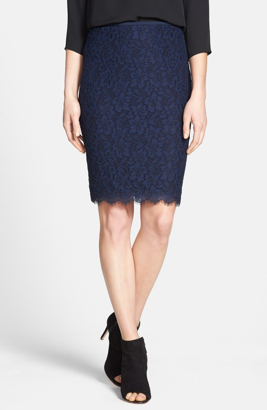 'Scotia' Lace Pencil Skirt,                             Main thumbnail 1, color,                             Navy