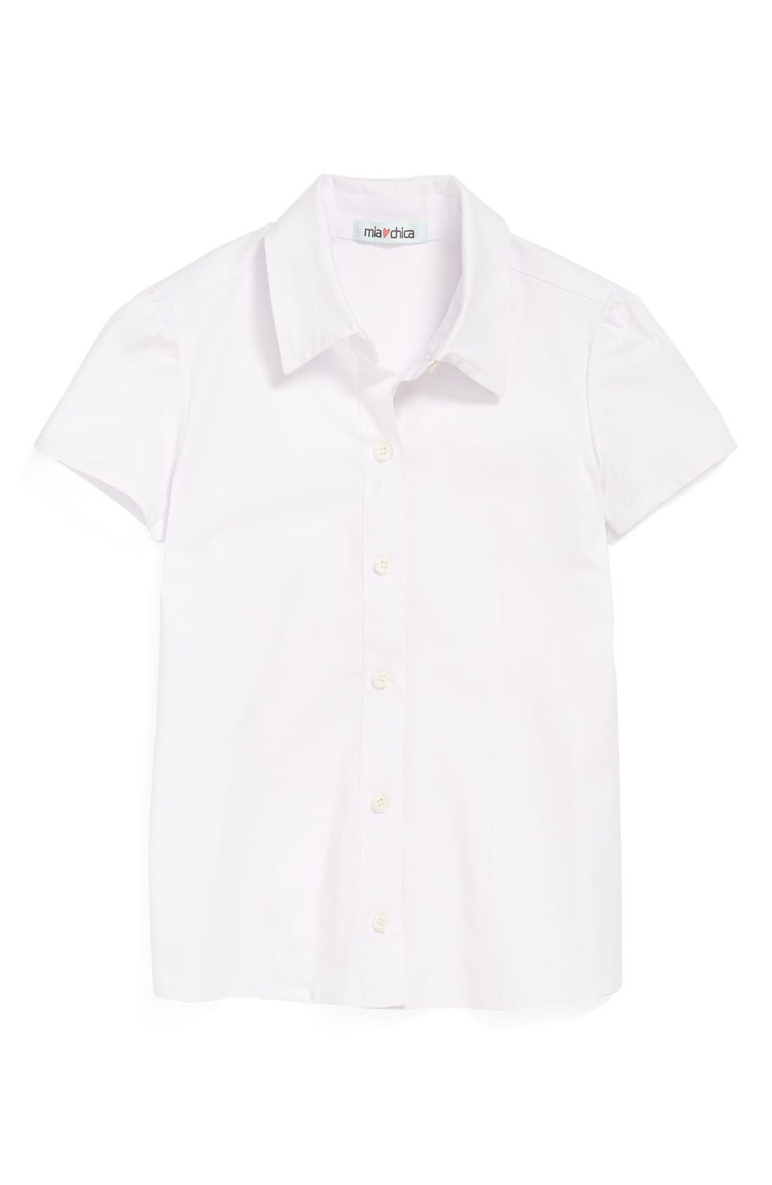 Alternate Image 1 Selected - Mia Chica Short Sleeve Stretch Cotton Blouse (Big Girls) (Online Only)