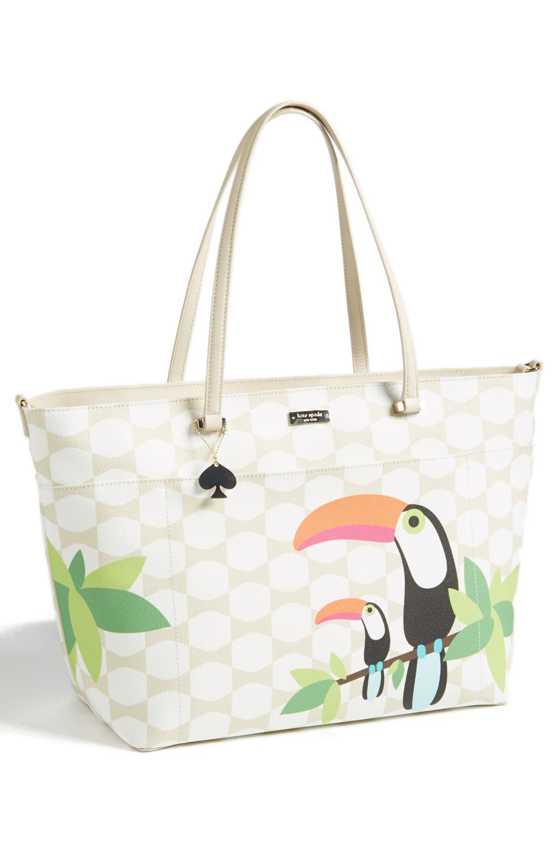 'bow tile - francis' baby bag,                         Main,                         color, Cream/ Sandy Beach Multi