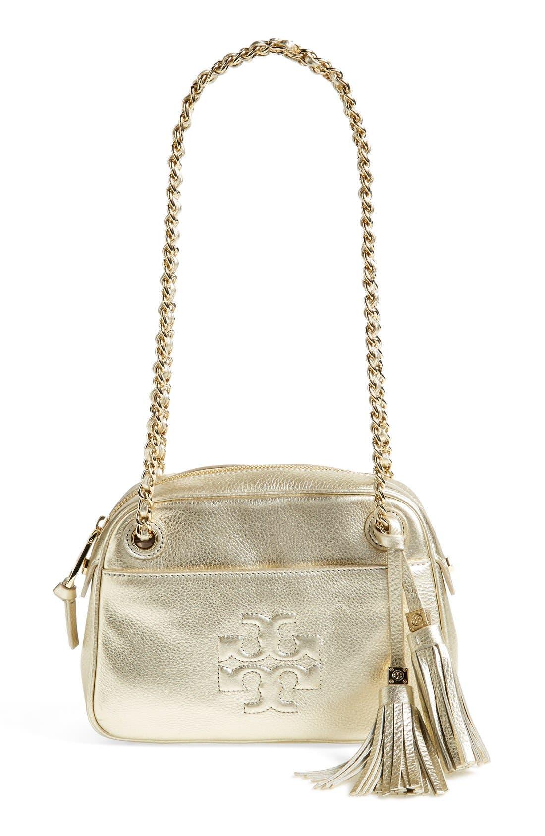 Main Image - Tory Burch 'Thea' Metallic Leather Crossbody Bag