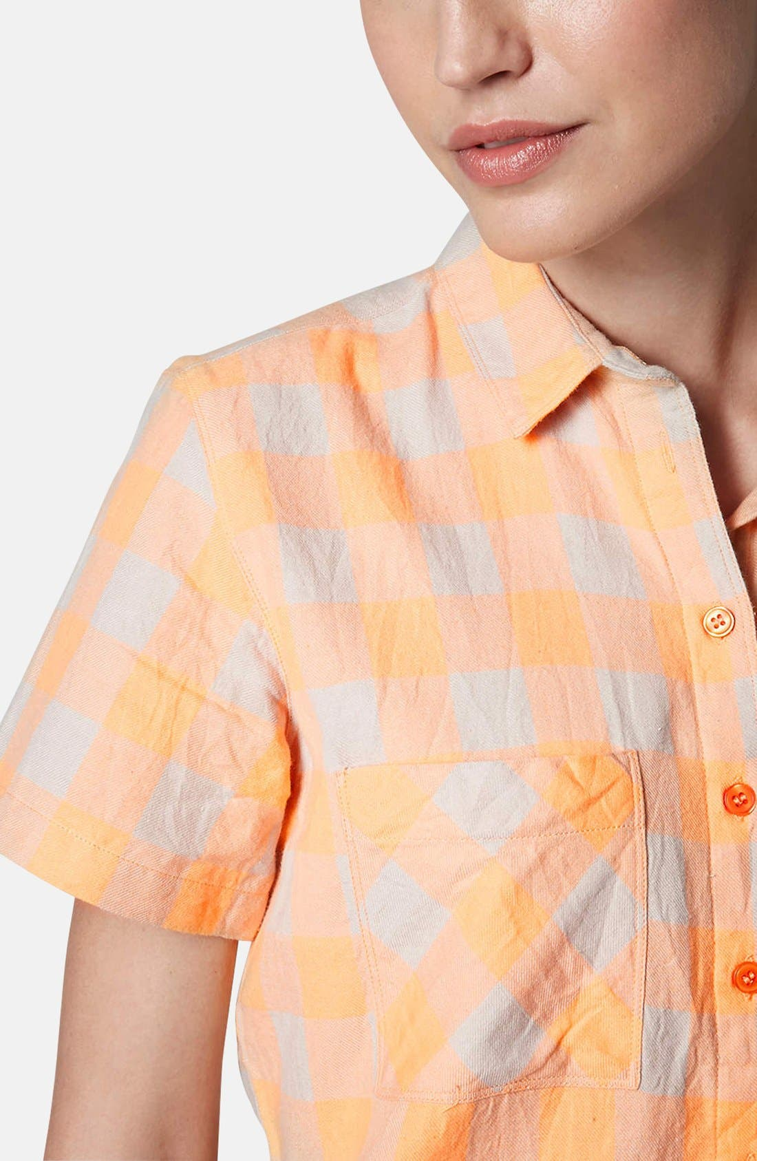 Alternate Image 4  - Topshop 'Amy' Check Short Sleeve Shirt