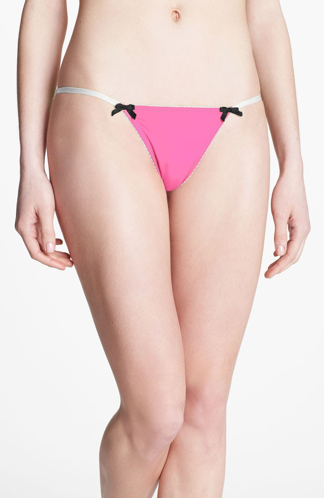 Alternate Image 1 Selected - Betsey Johnson Stretch Knit String Bikini (3 for $30)