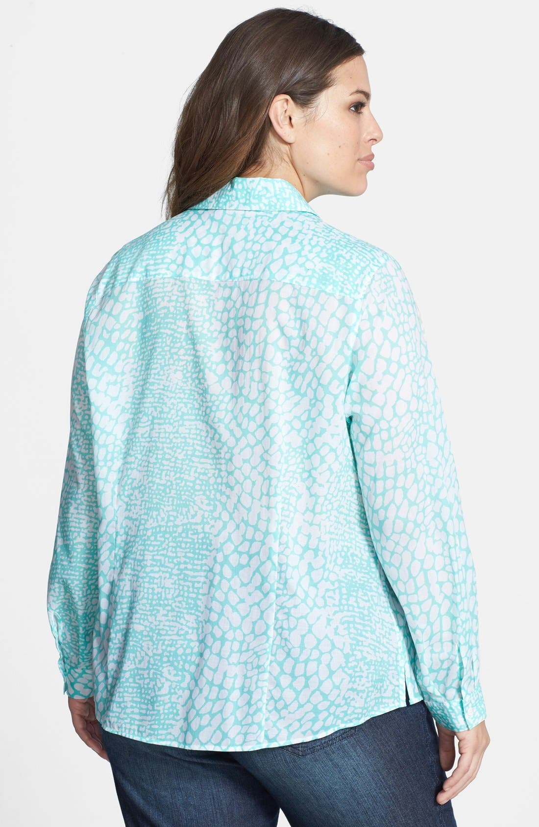 Alternate Image 2  - Foxcroft Roll Sleeve Snakeskin Print Shaped Shirt (Plus Size)