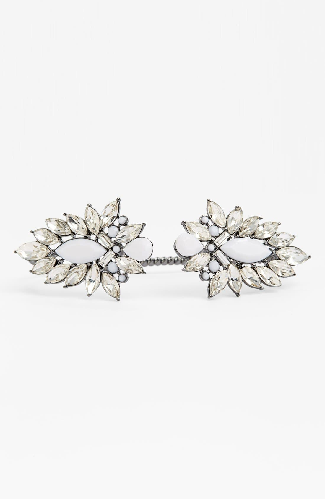 Couture Crystal Palm Cuff,                         Main,                         color, Hematite/ White