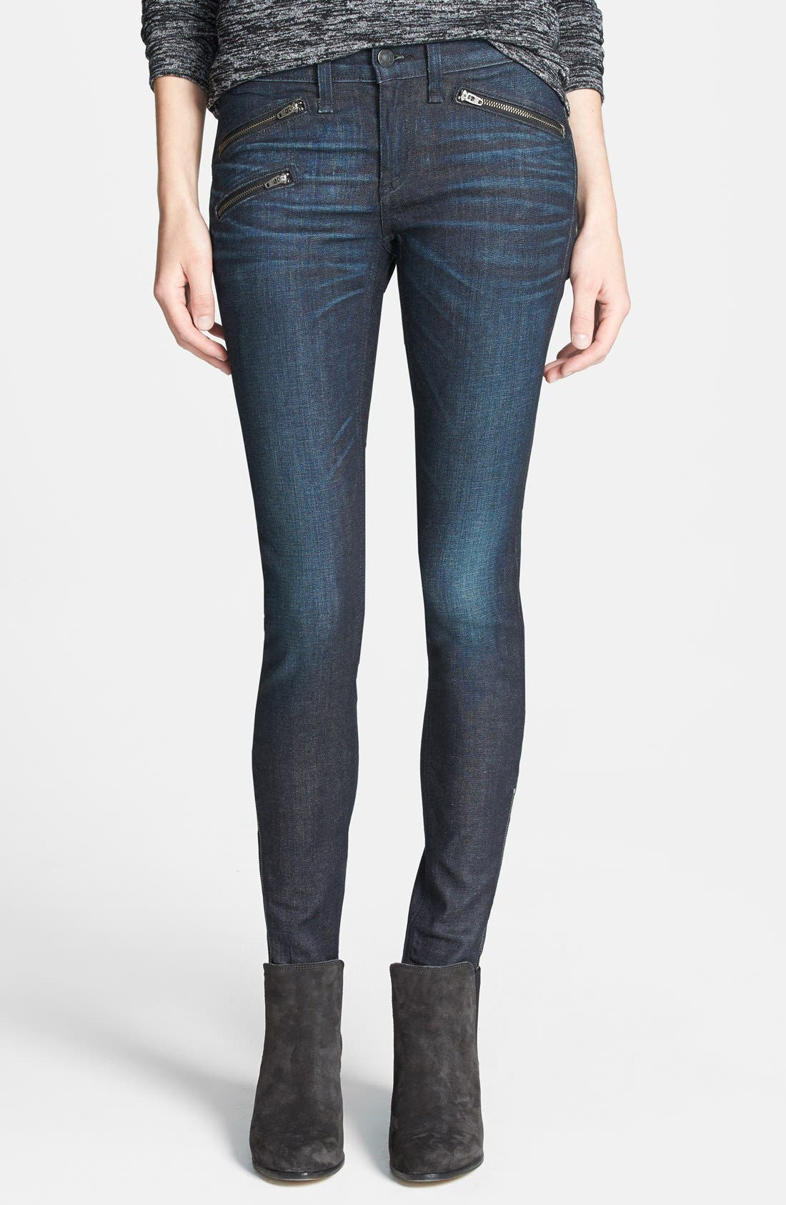 Zip Detail Skinny Jeans,                             Main thumbnail 1, color,                             Kensington