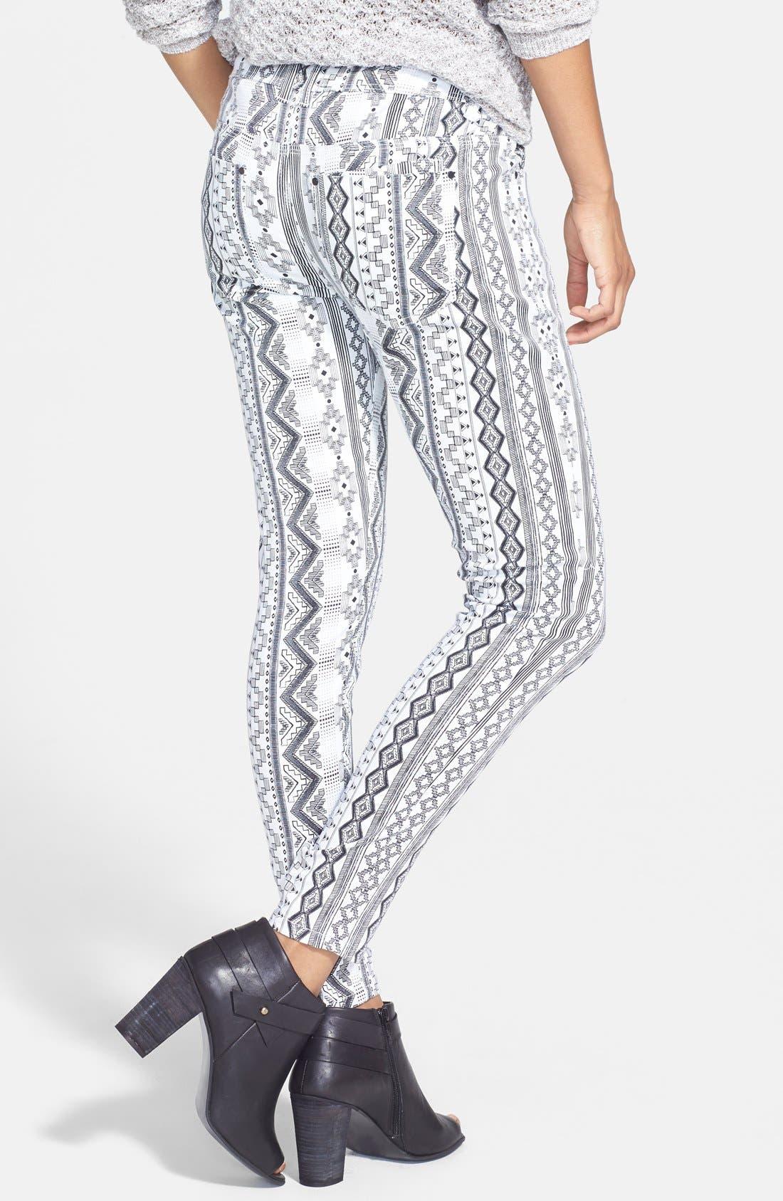 Alternate Image 2  - Fire Print Skinny Jeans (Black/White) (Juniors) (Online Only)