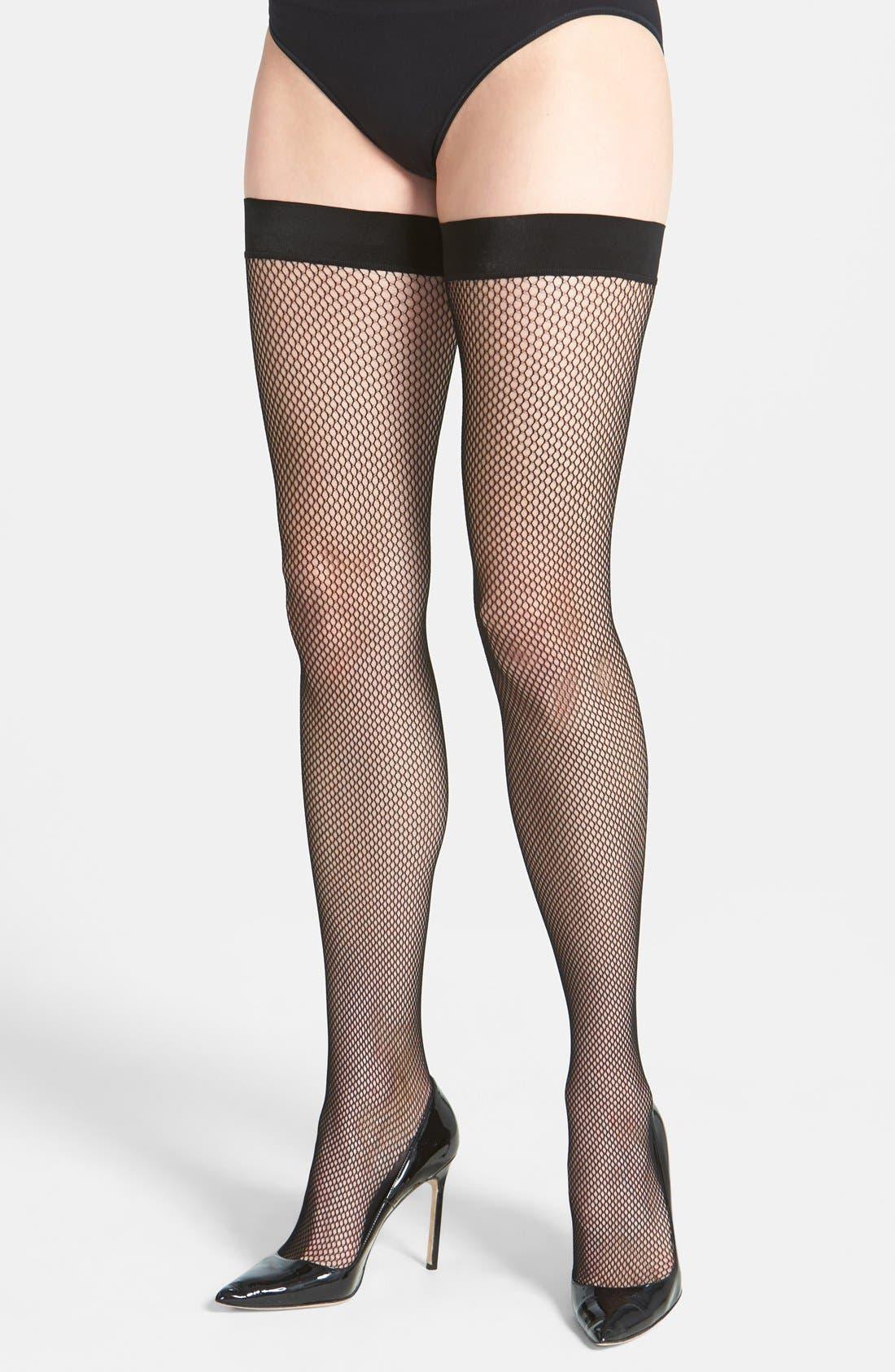 Main Image - DKNY 'Softest Fishnet' Thigh High Stockings