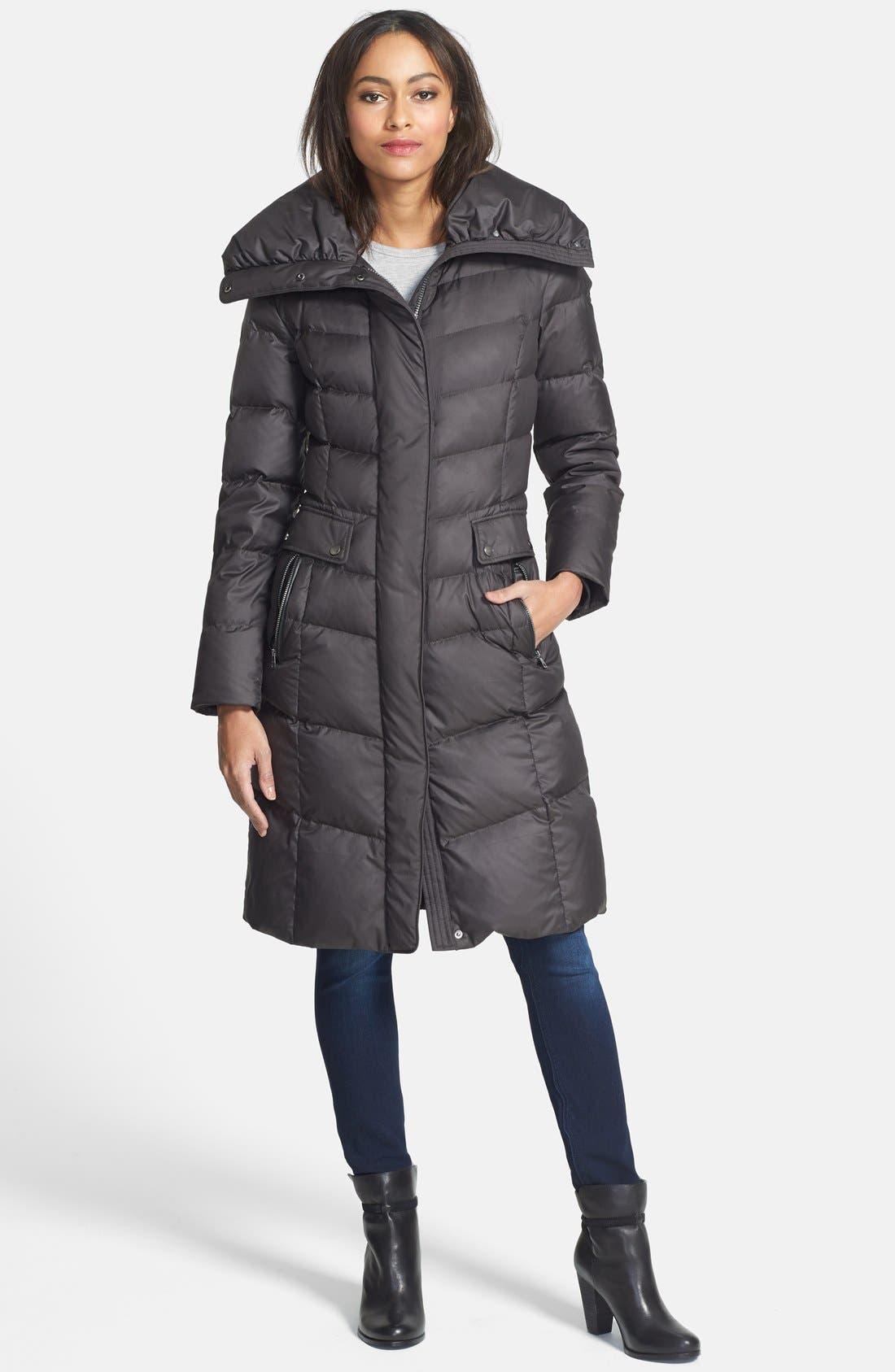 Main Image - Cole Haan Oversize Collar Packable Long Down Coat