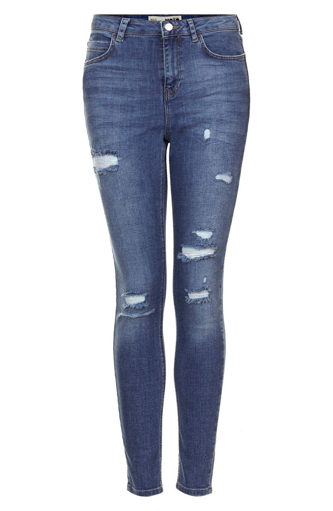 Alternate Image 3  - Topshop Moto Destroyed Skinny Jeans (Mid Denim) (Short & Regular)
