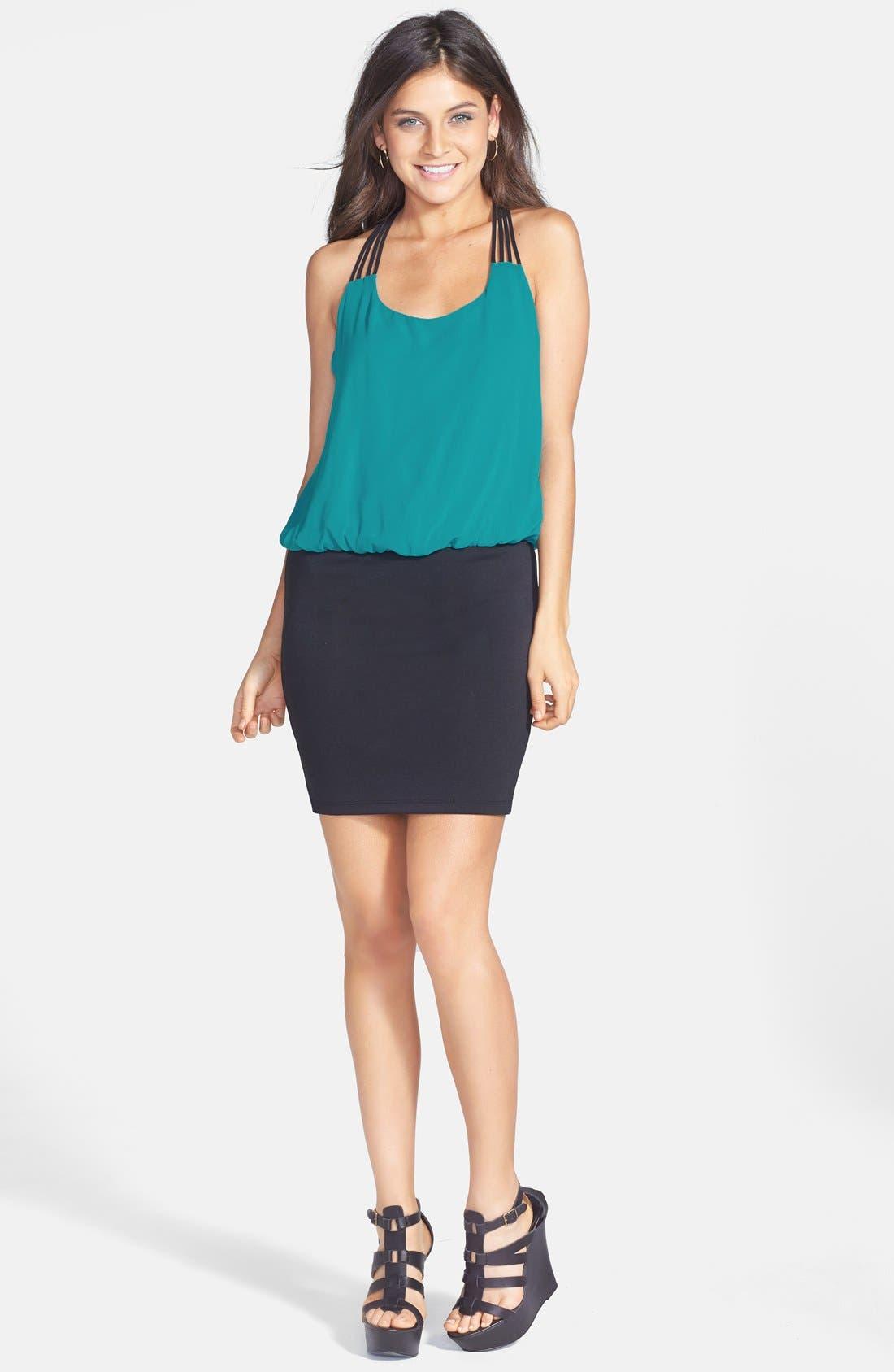 Alternate Image 3  - Trixxi Strap Detail Colorblock Blouson Dress (Juniors)