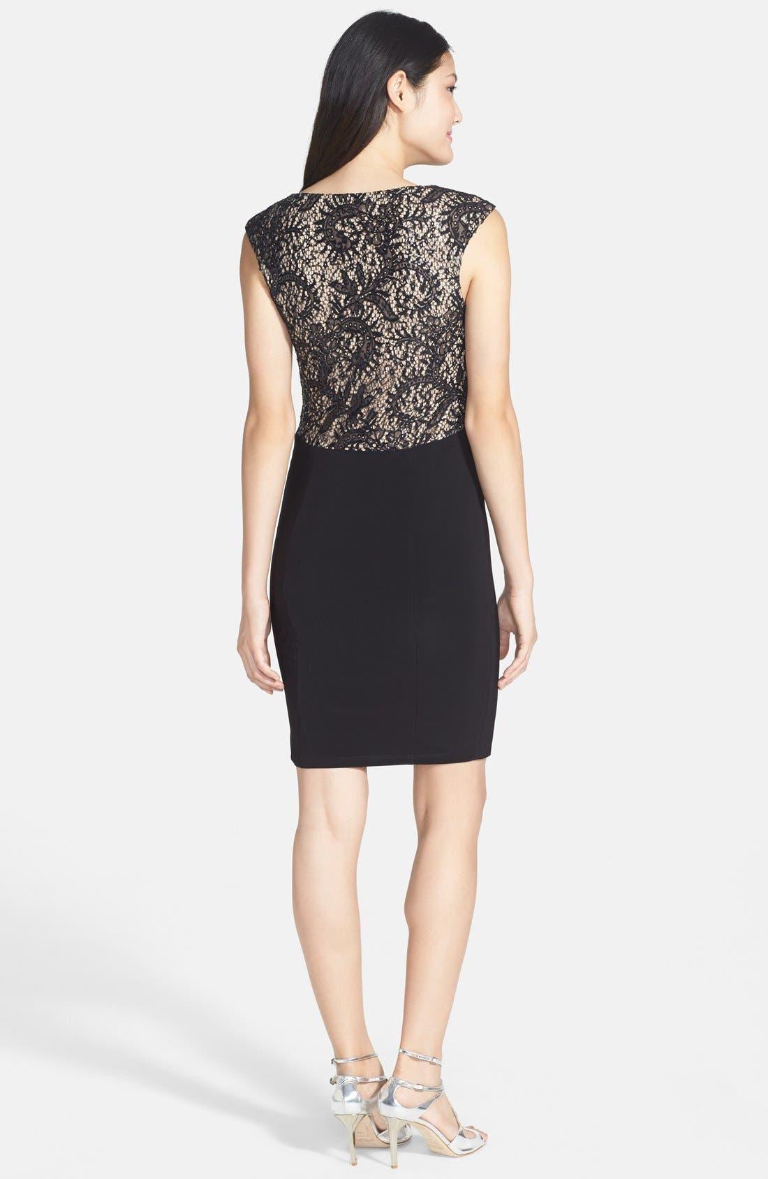 Alternate Image 2  - Xscape Embellished Lace Detail Jersey Sheath Dress