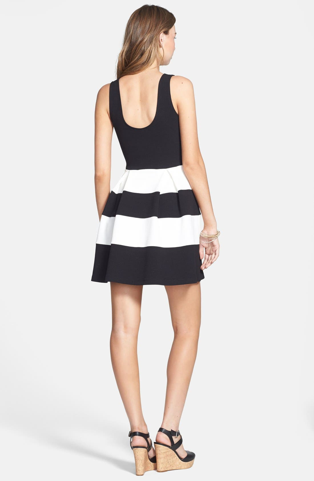 Alternate Image 2  - Soprano Stripe Skater Dress (Juniors)
