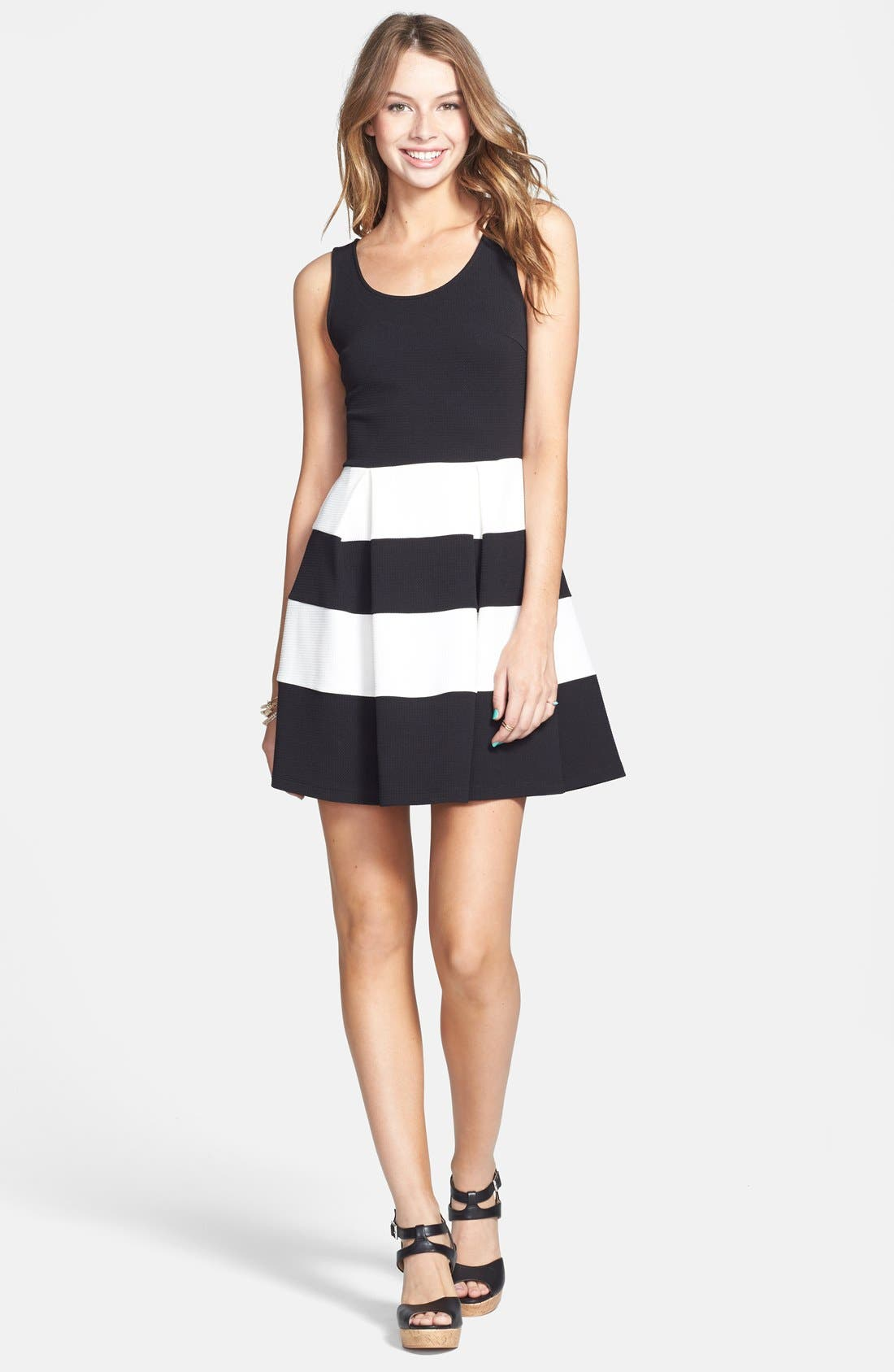 Alternate Image 1 Selected - Soprano Stripe Skater Dress (Juniors)