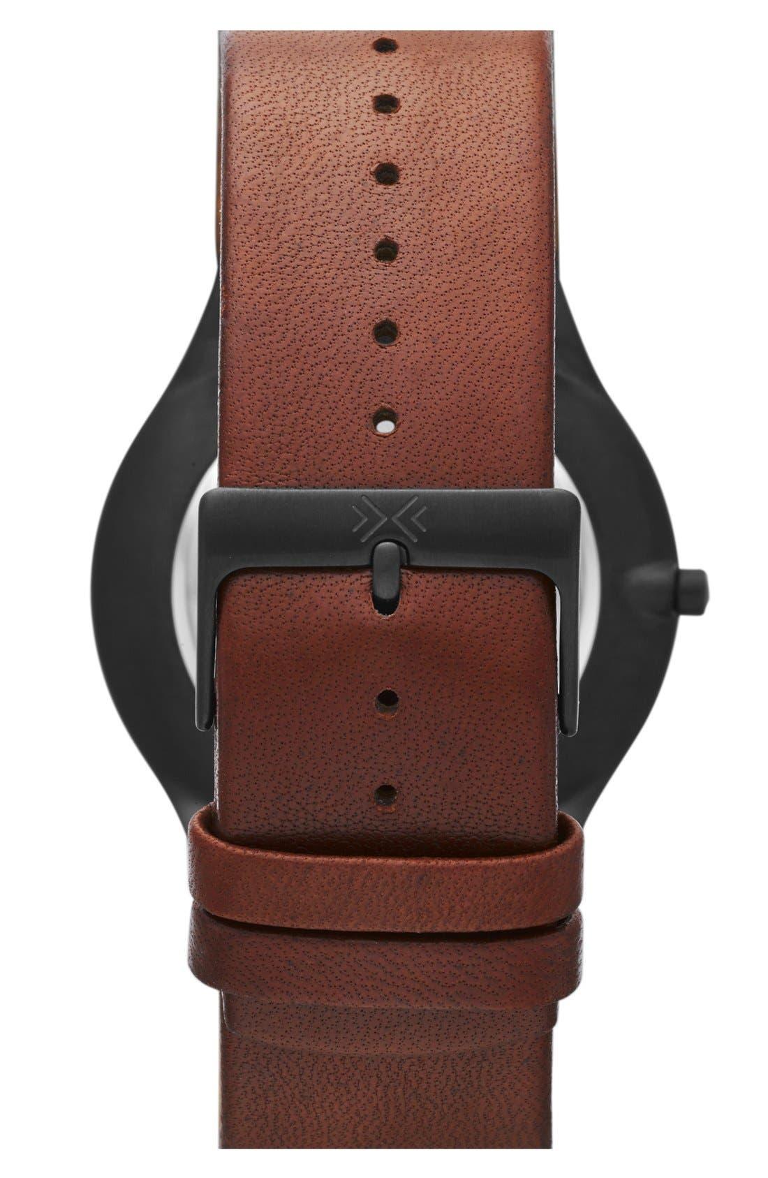 Alternate Image 2  - Skagen 'Grenen' Round Multifunction Leather Strap Watch, 41 mm
