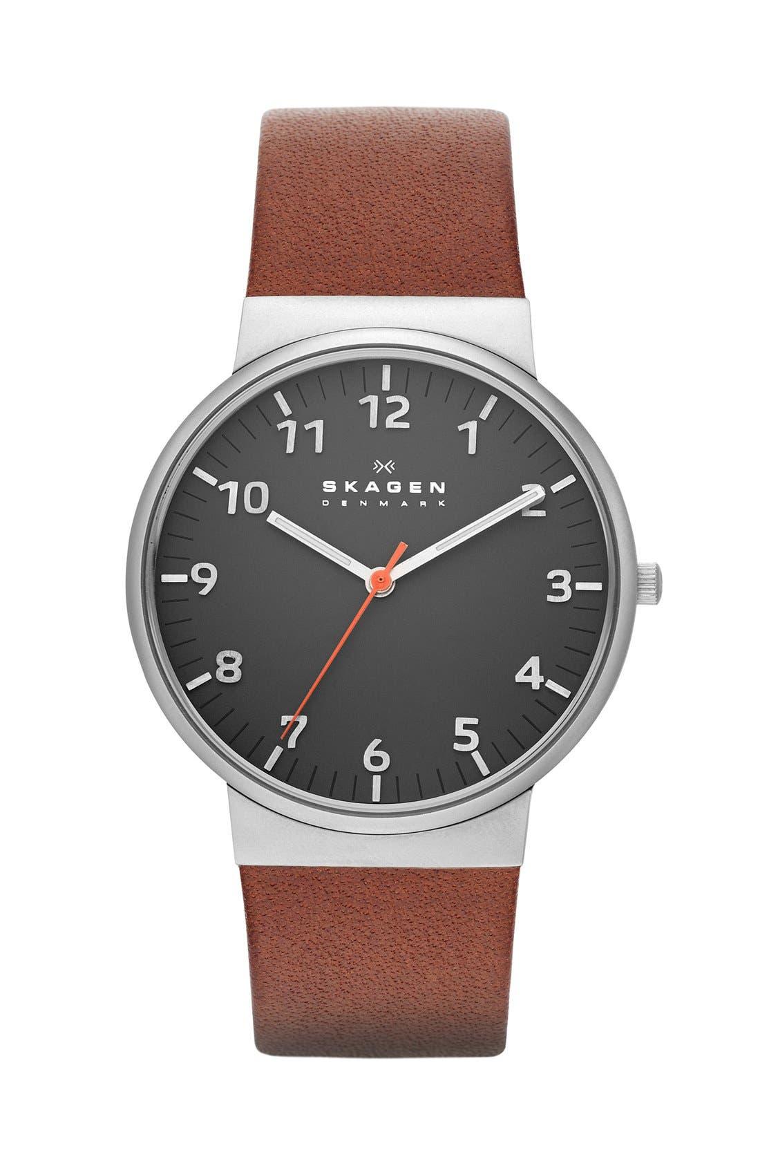 Main Image - Skagen 'Ancher' Round Leather Strap Watch, 36mm