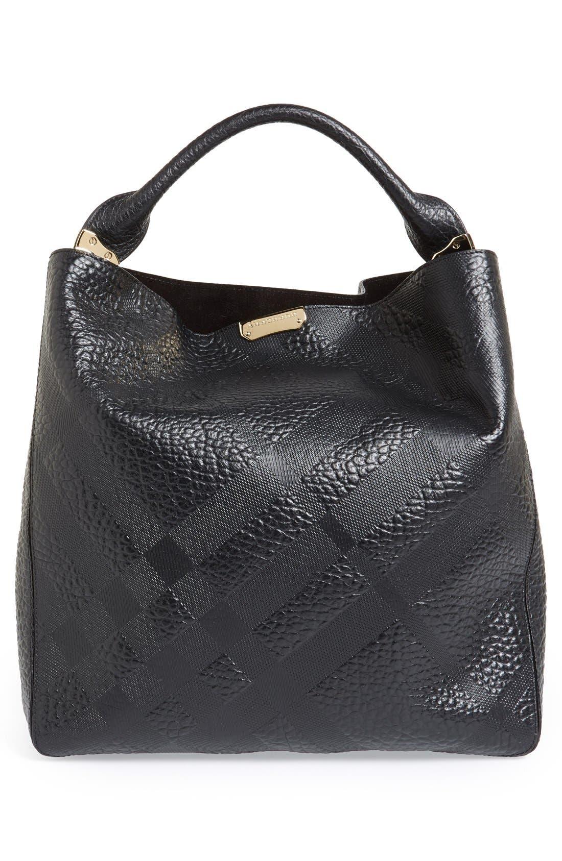 Alternate Image 4  - Burberry 'Medium Lindburn' Check Embossed Leather Hobo