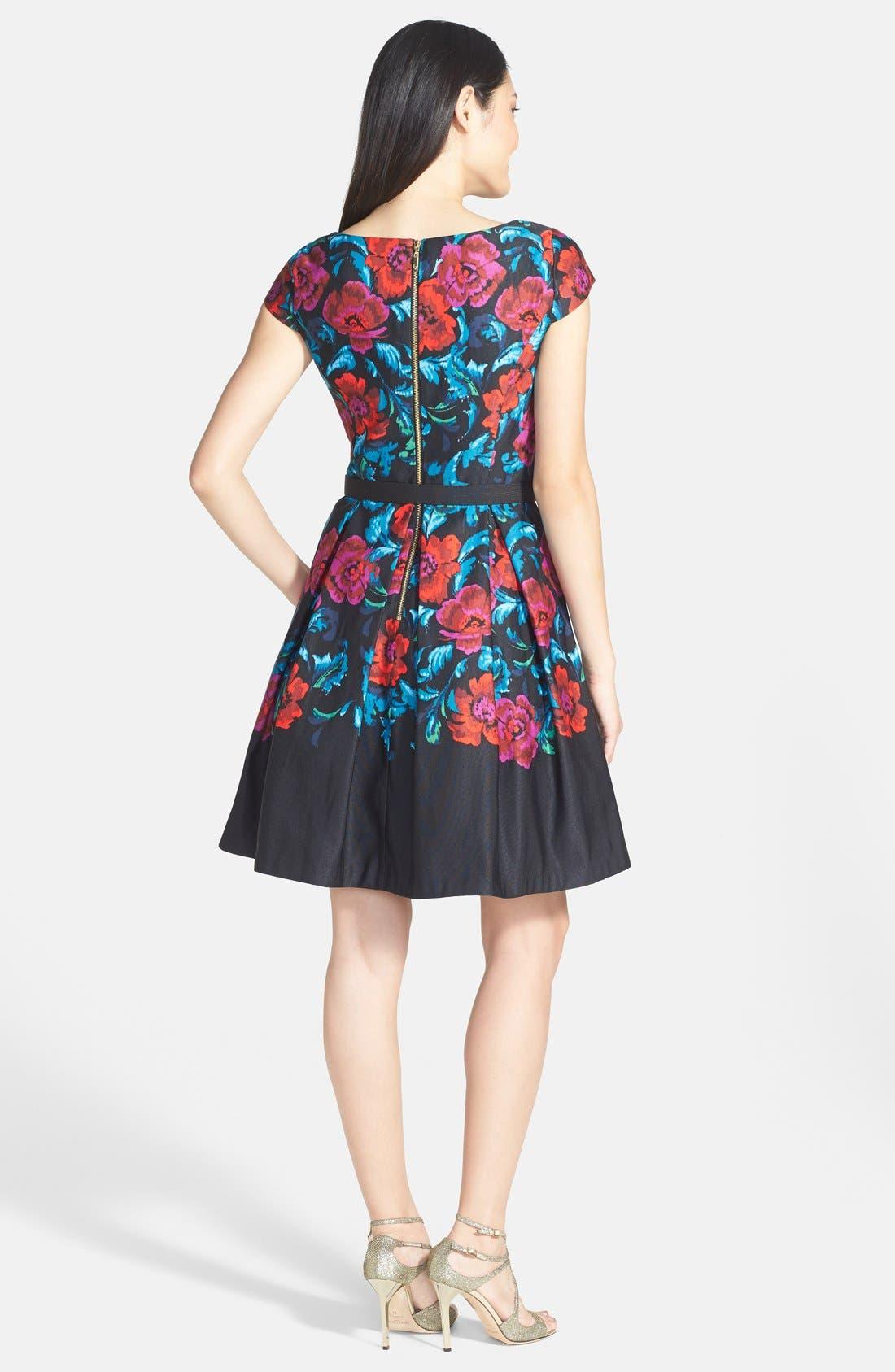 Alternate Image 2  - Eliza J Floral Print Pleat Fit & Flare Dress (Regular & Petite)