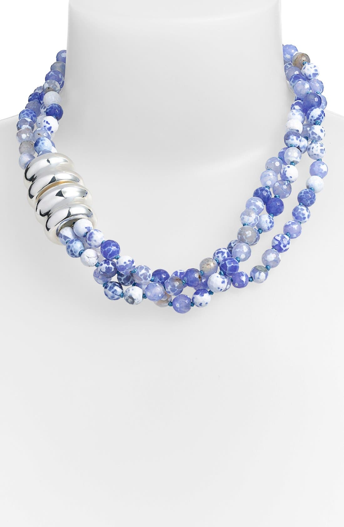Beaded Torsade Necklace,                             Main thumbnail 1, color,                             Silver/ Light Blue Fire Agate