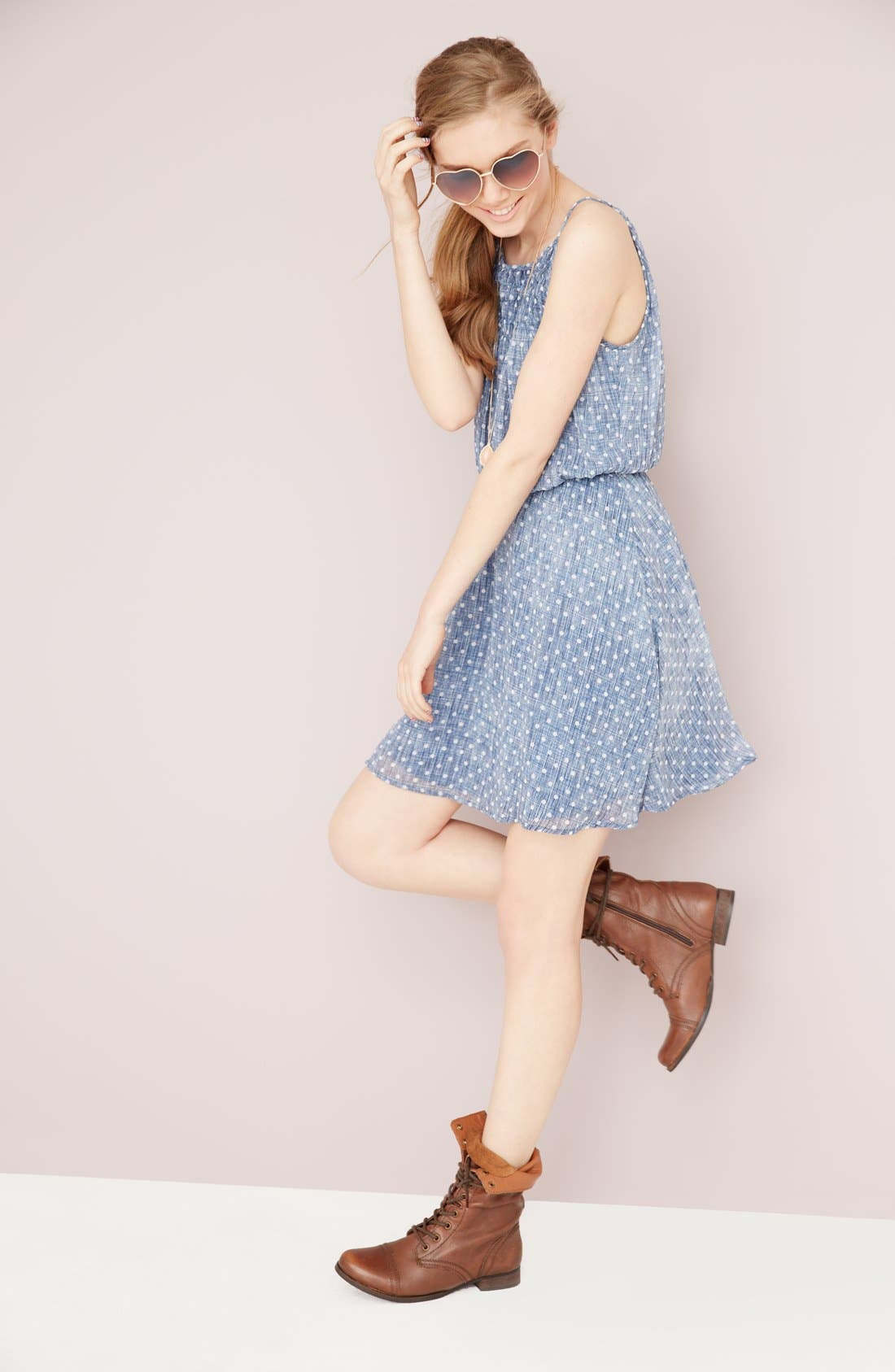 Alternate Image 4  - dee elle Polka Dot Smocked Skater Dress (Juniors)