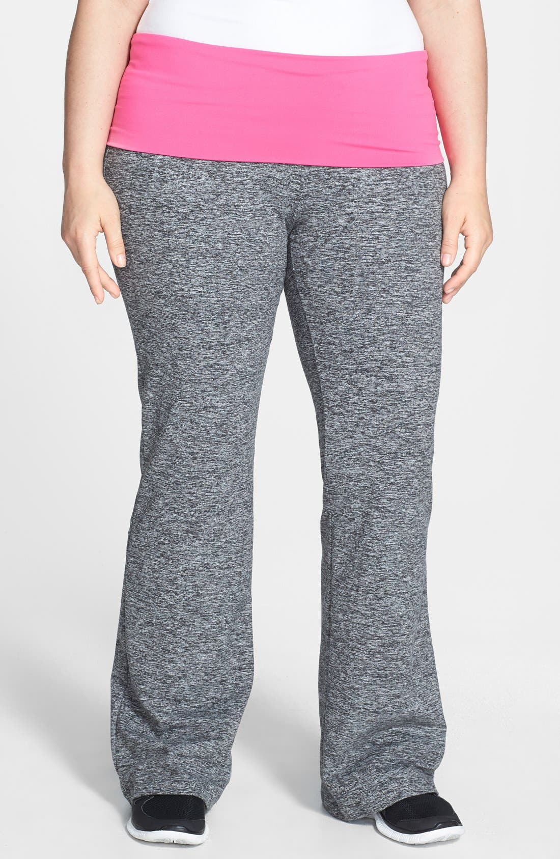 Main Image - Pink Lotus Contrast Waist Compression Yoga Pants (Plus Size)