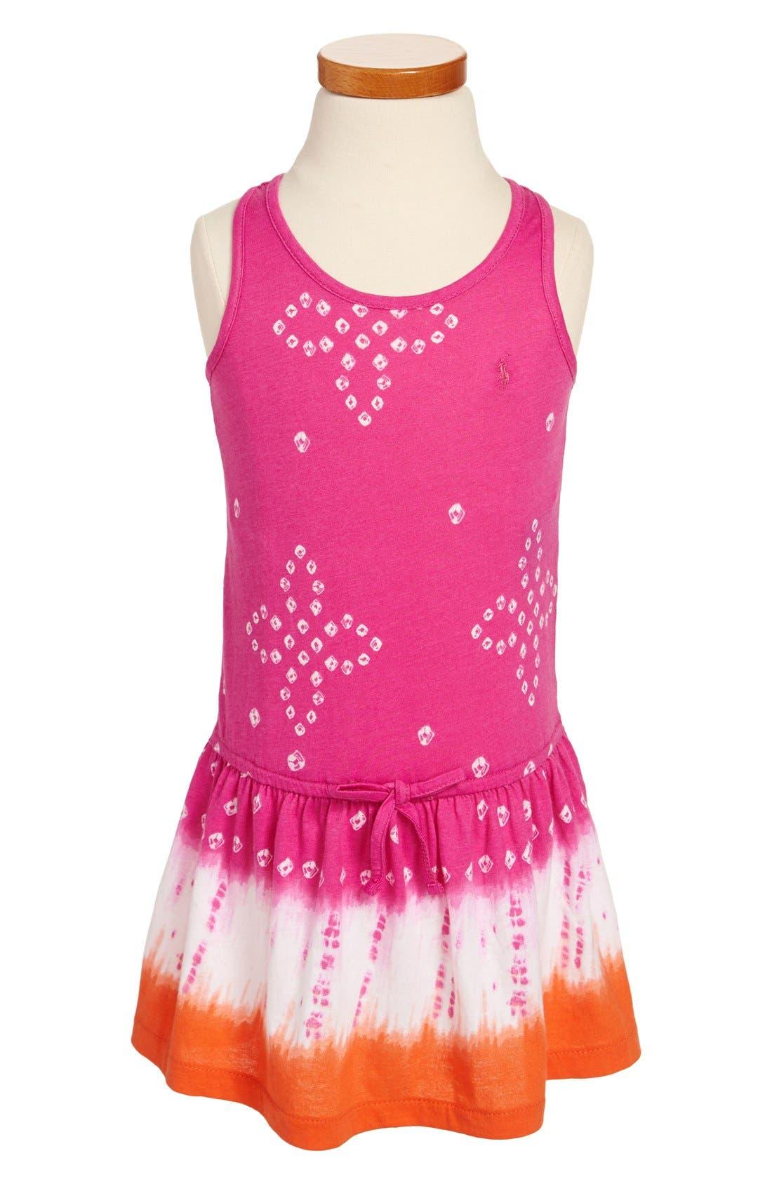 Main Image - Ralph Lauren Tie Dye Racerback Drop Waist Cotton Jersey Dress (Toddler Girls)