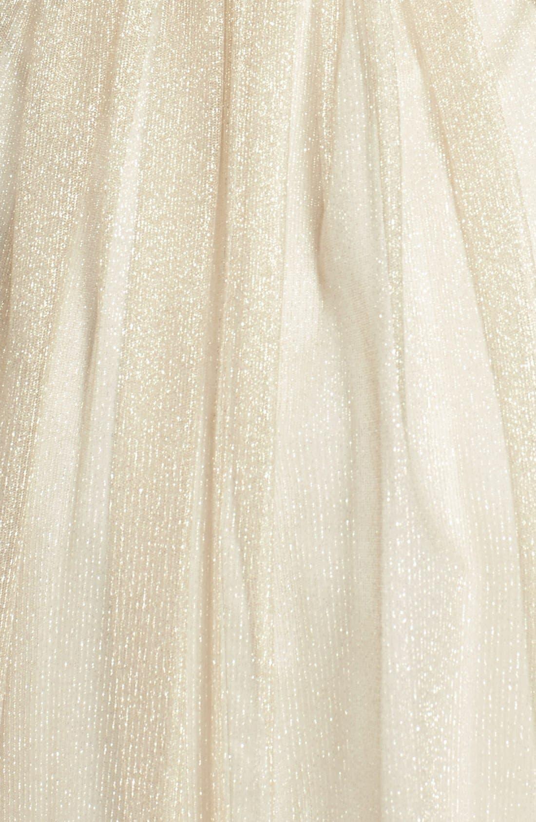 Alternate Image 3  - Aidan Mattox Ruched Metallic Tea Length Tulle Fit & Flare Dress