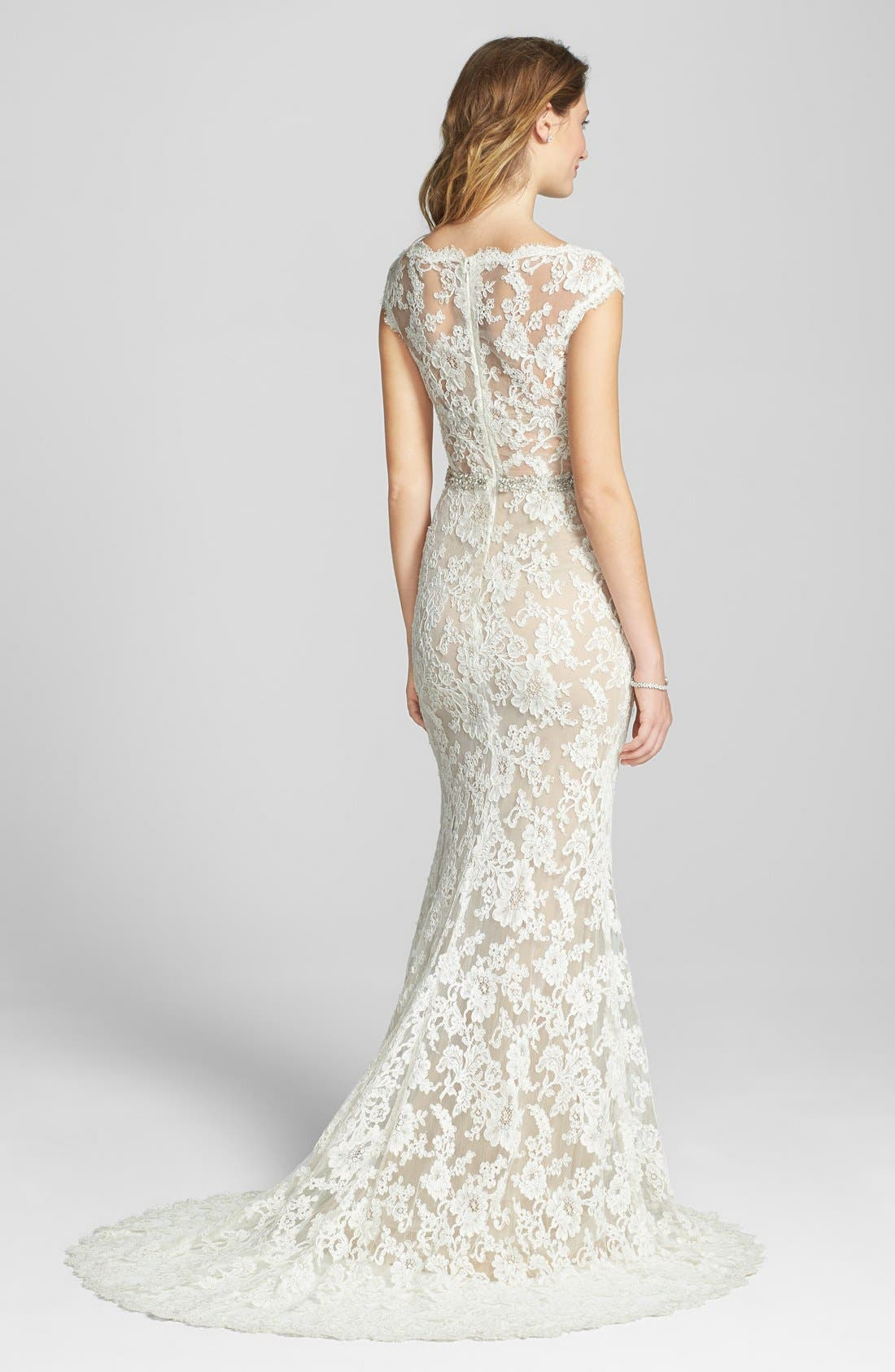 Alternate Image 2  - Reem Acra Emma Embroidered Waist Lace Column Gown