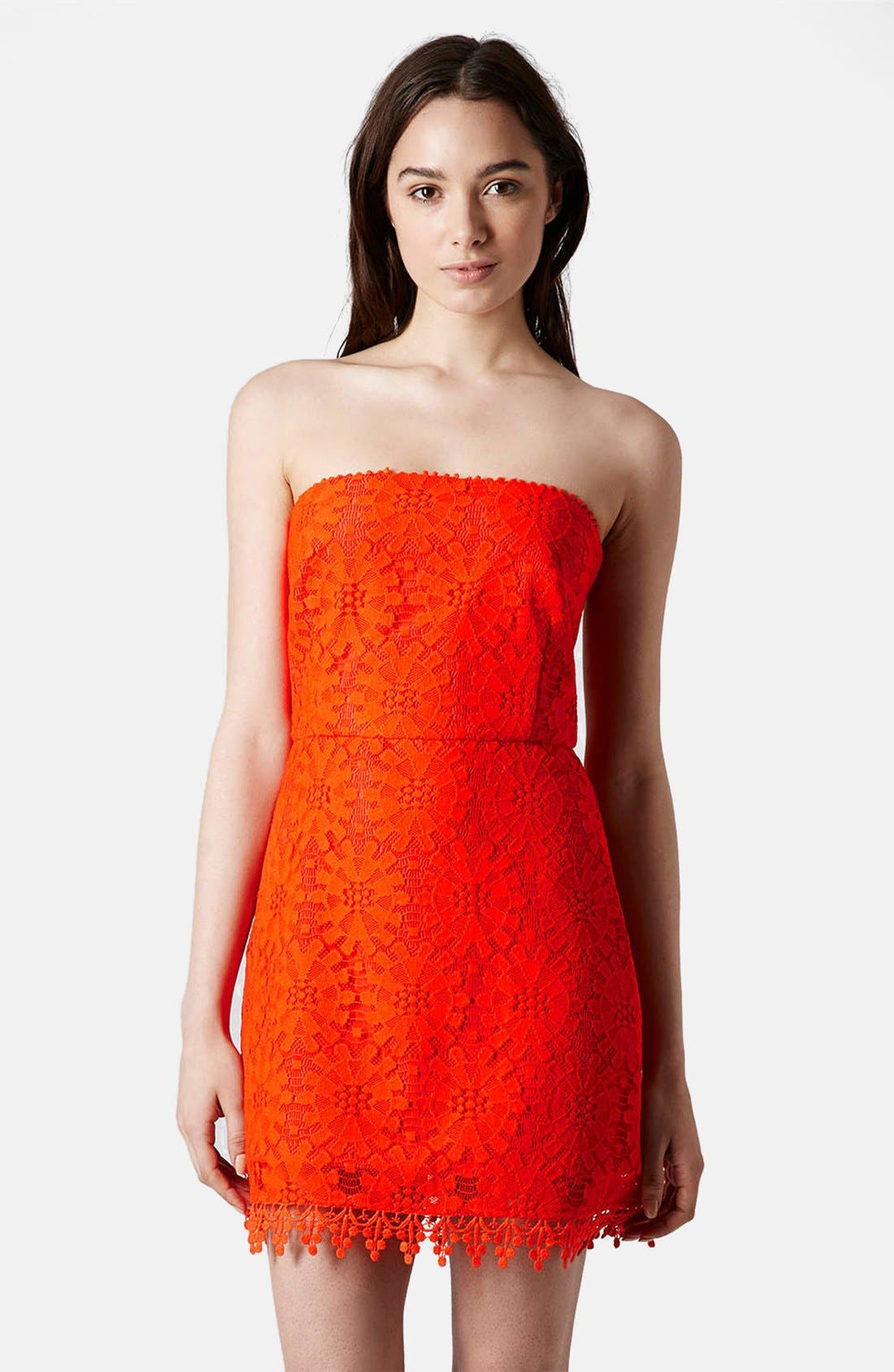 Alternate Image 1 Selected - Topshop Wheel Lace Strapless Dress