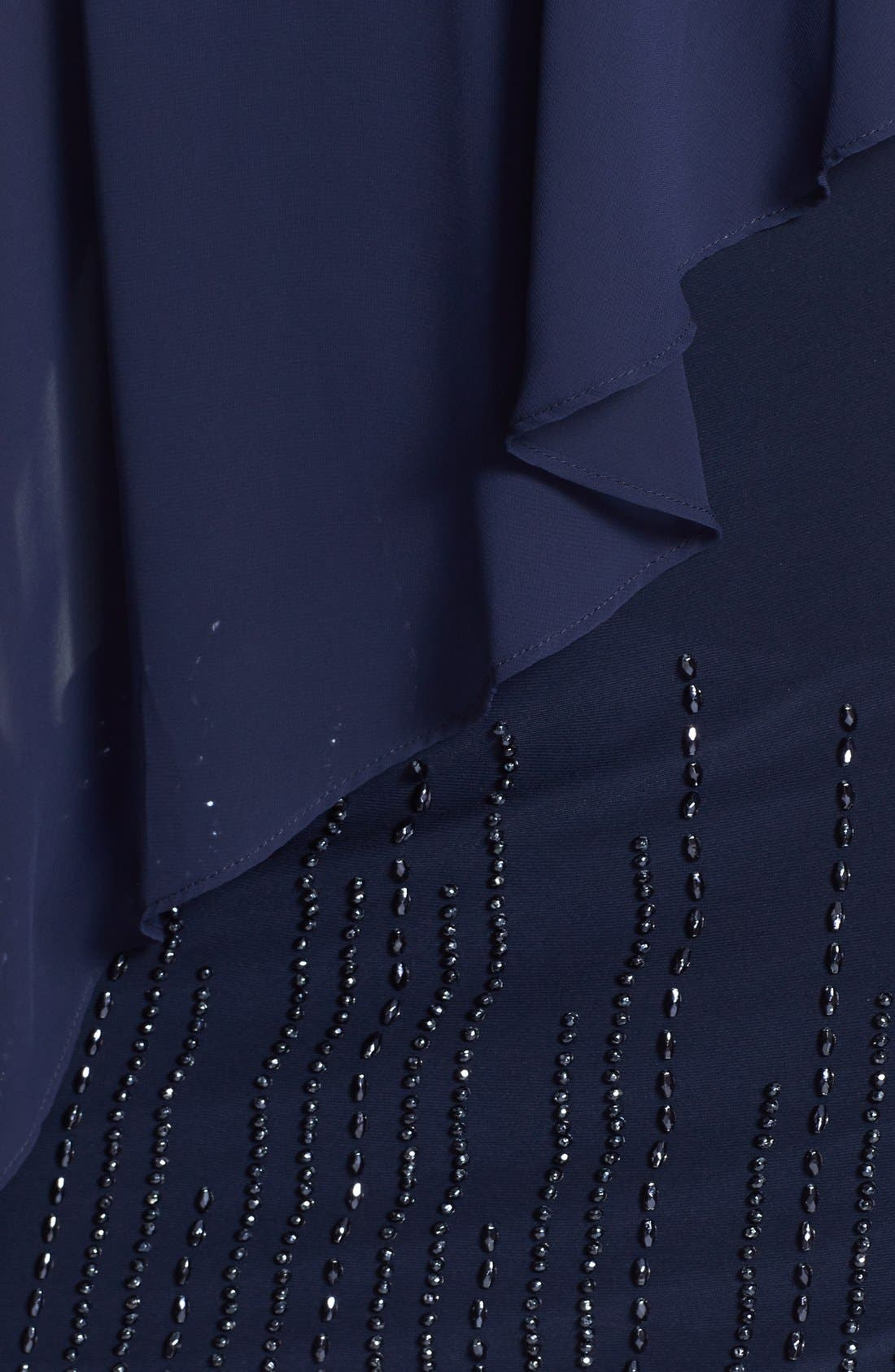 Alternate Image 3  - Xscape Chiffon Overlay Beaded Hem Dress (Plus Size)