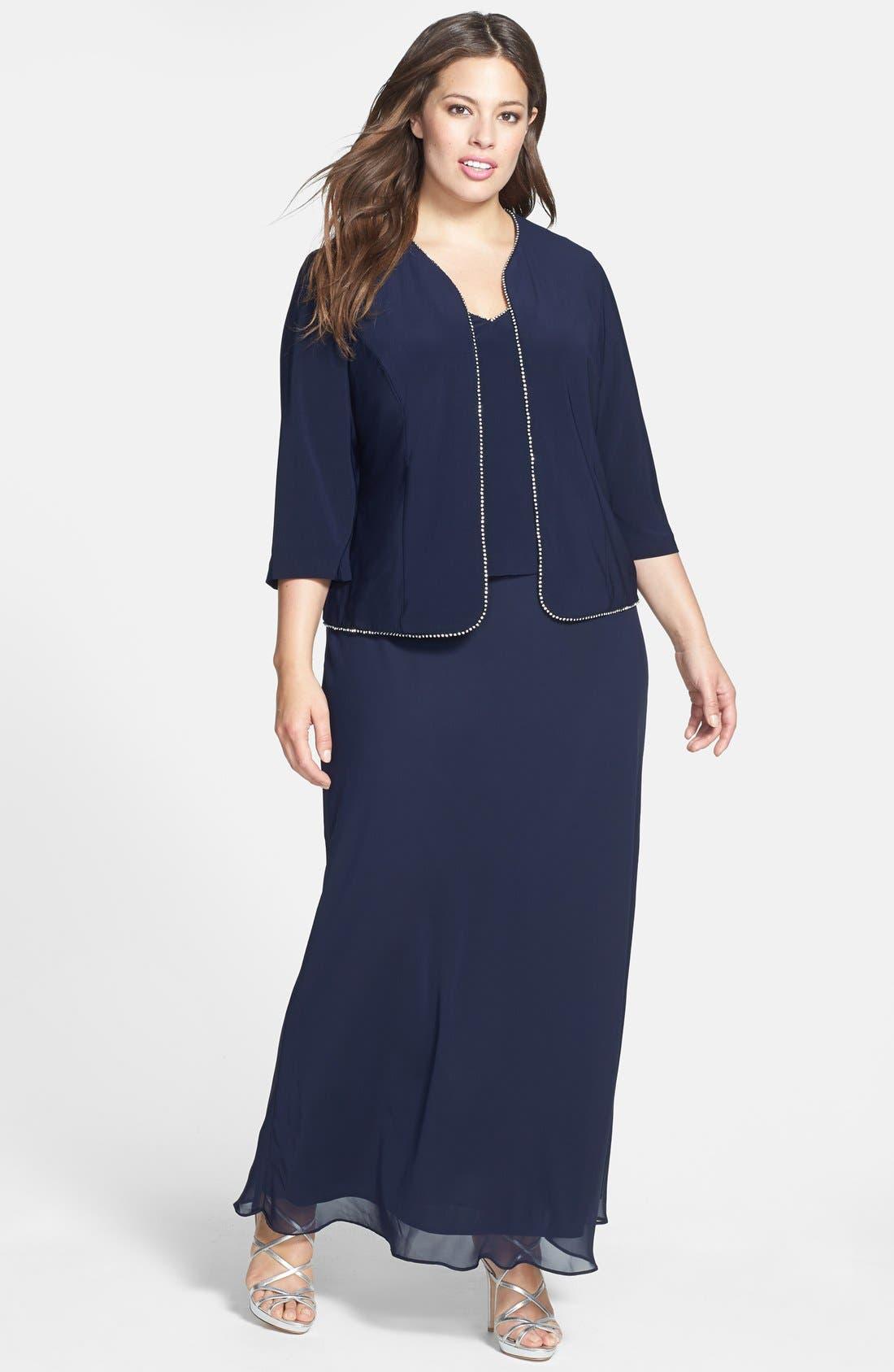 Main Image - Alex Evenings Rhinestone Trim Gown & Jacket (Plus Size)