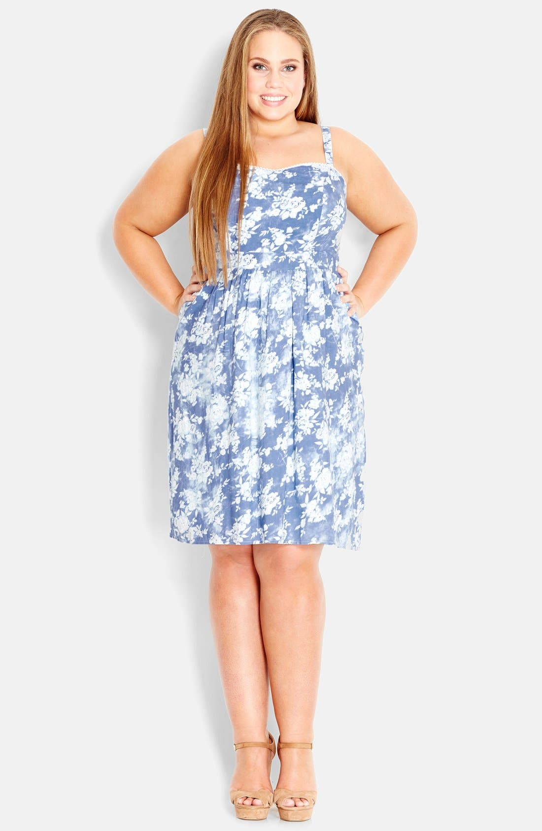 Alternate Image 1 Selected - City Chic Print Chambray Sundress (Plus Size)
