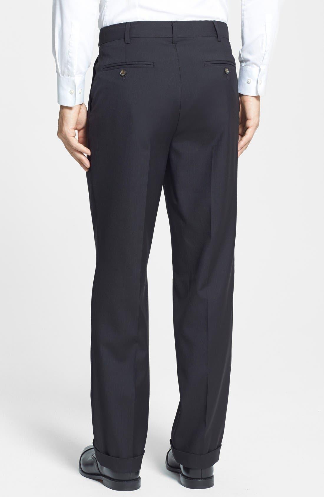 Self Sizer Waist Pleated Trousers,                             Alternate thumbnail 3, color,                             Black